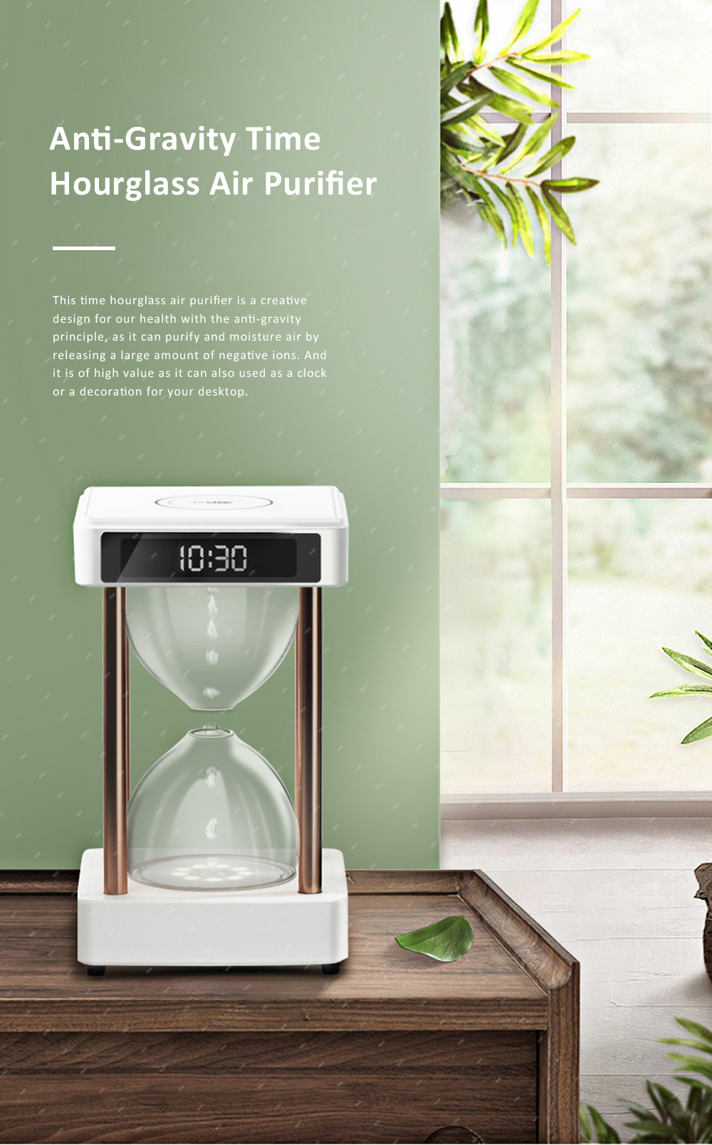 Tinkleo Air Purifier Anti-Gravity Time Hourglass with Water Drops Back Flow Desktop Humidification Deodorization Decoration Gift 0