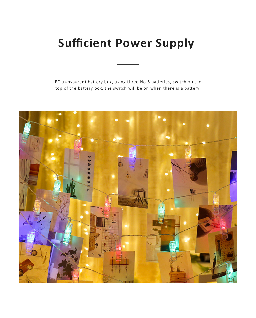 Led Star String Lights with Battery Powered Waterproof Clip String Postcard Photo Decoration Light for Indoor Outdoor Wedding Party Wall Garden 1