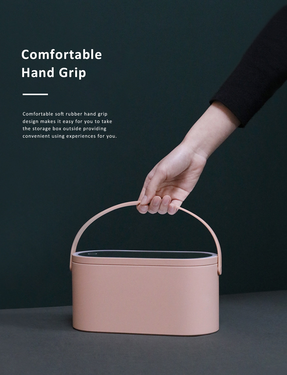 Portable Dressing Make Up Mirror Storage Case with Soft LED Light Recharging HD Mirror Comfortable Handle Cosmetic Storage Box 2