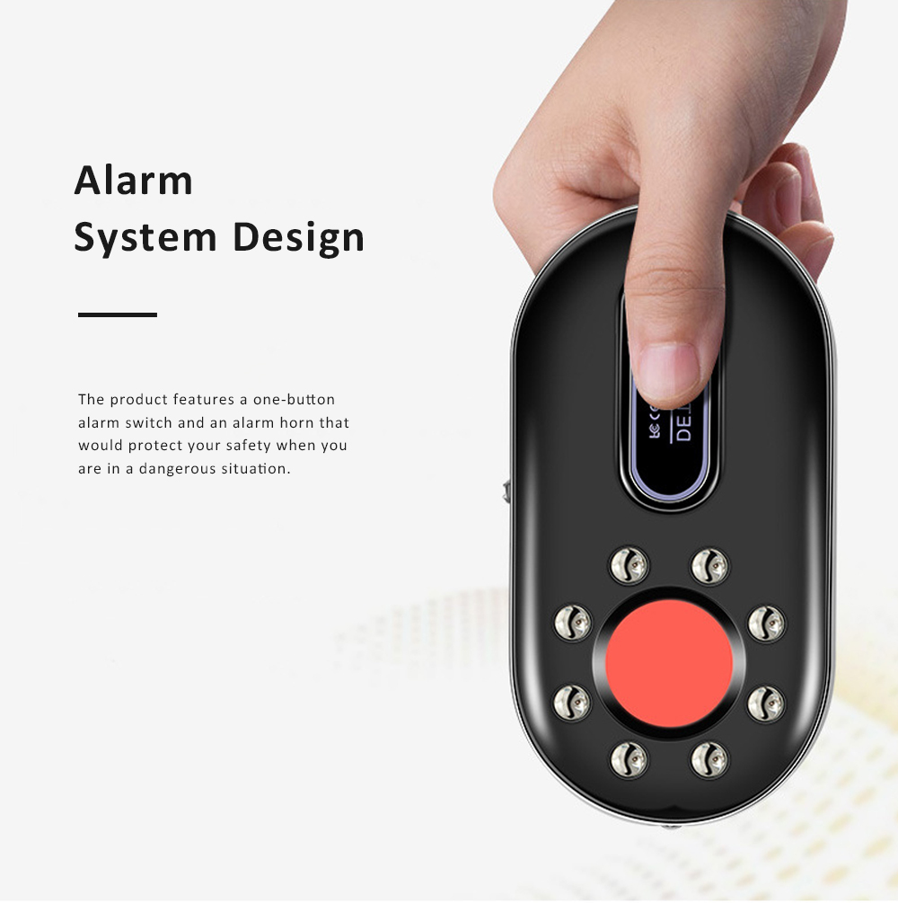 Portable Multifunctional Hotel Infrared Pin Hole Camera Detector Spy Prevention Led Flashlight Alarm Apparatus Alertor Traveling Tool 5