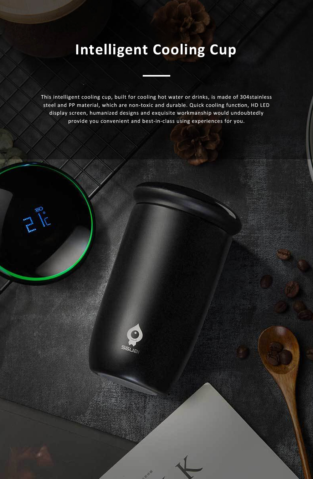 Delicate Portable Anti-scald Stainless Steel 55℃ Quick Cooling Cup with Intelligent Touch LCD Screen Water Clock 0