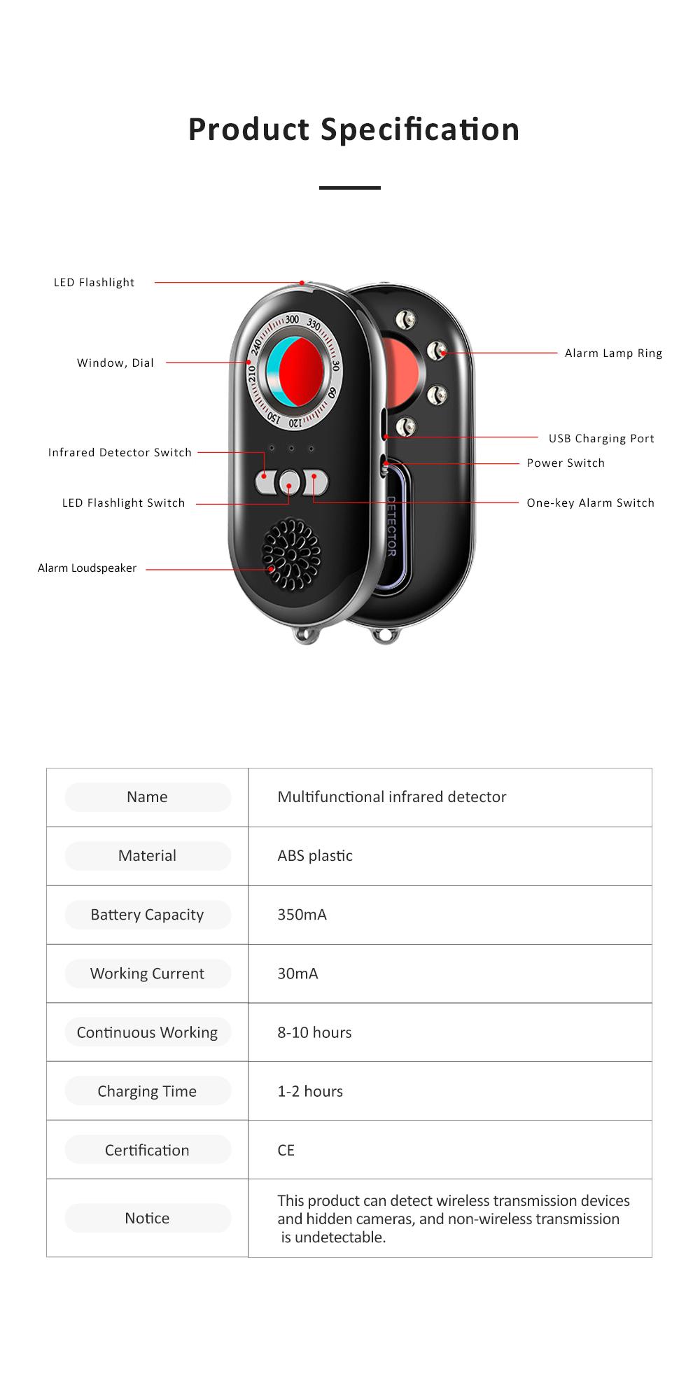 Portable Multifunctional Hotel Infrared Pin Hole Camera Detector Spy Prevention Led Flashlight Alarm Apparatus Alertor Traveling Tool 7
