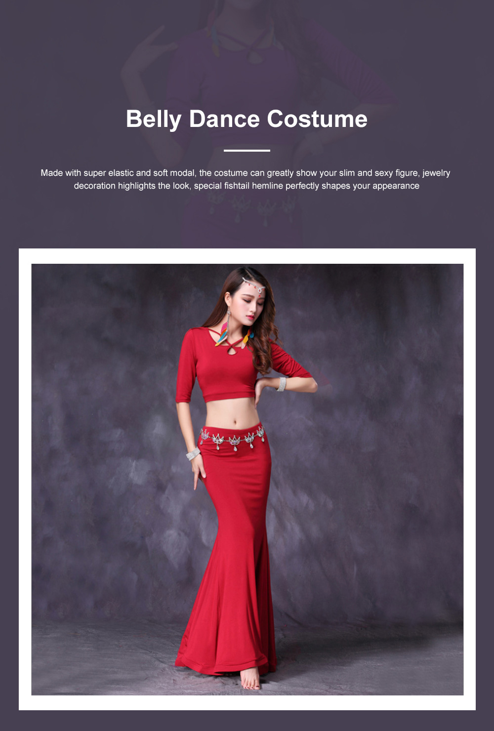 Belly Dance Costume Solid Color Set with Jewelry Decoration Fishtail Hemline Sheathe Dress 0