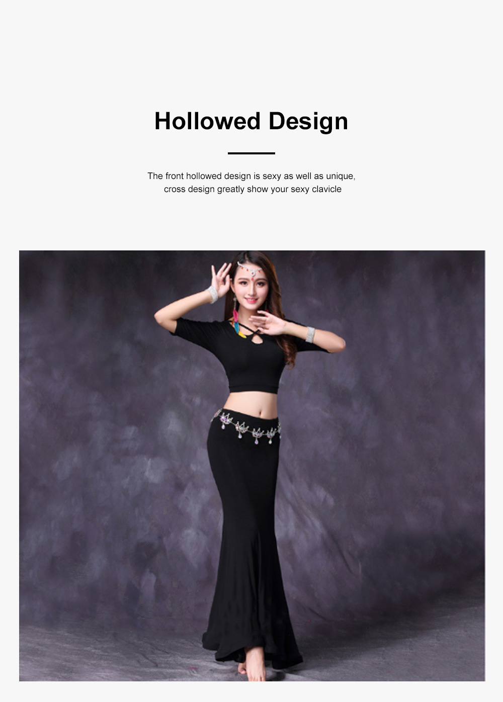 Belly Dance Costume Solid Color Set with Jewelry Decoration Fishtail Hemline Sheathe Dress 5