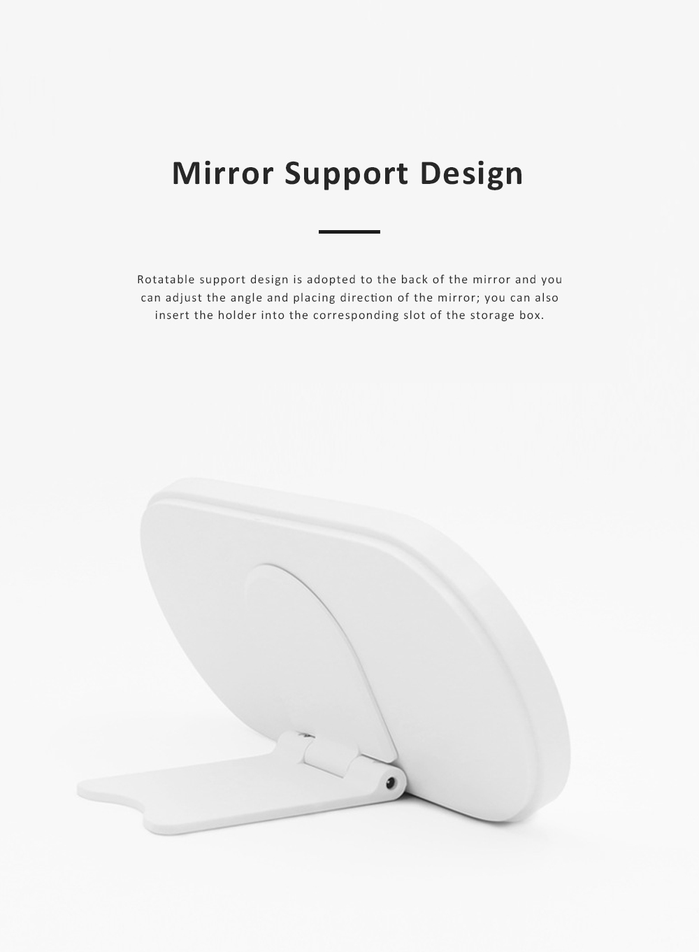 Portable Dressing Make Up Mirror Storage Case with Soft LED Light Recharging HD Mirror Comfortable Handle Cosmetic Storage Box 5