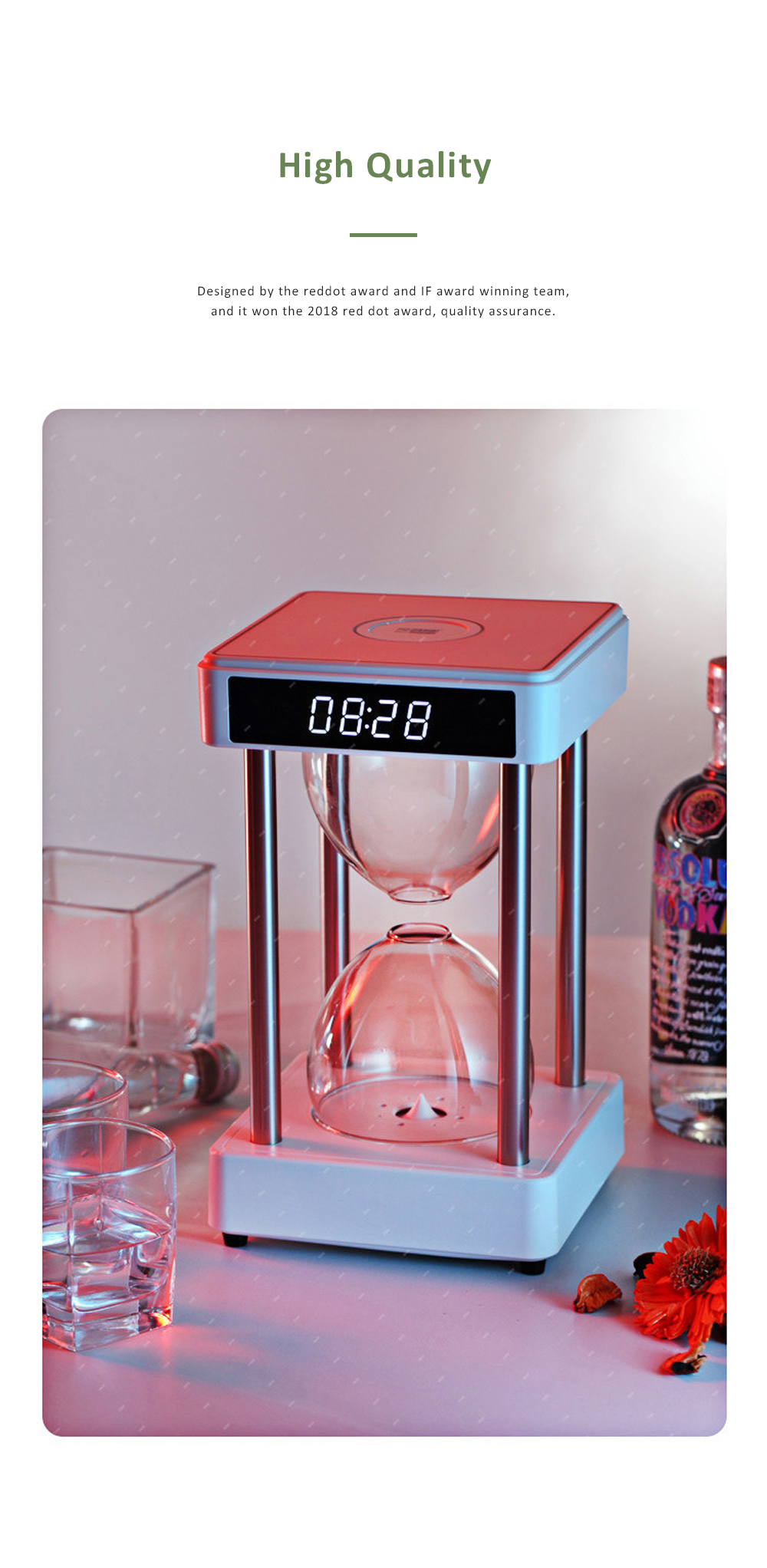 Tinkleo Air Purifier Anti-Gravity Time Hourglass with Water Drops Back Flow Desktop Humidification Deodorization Decoration Gift 4