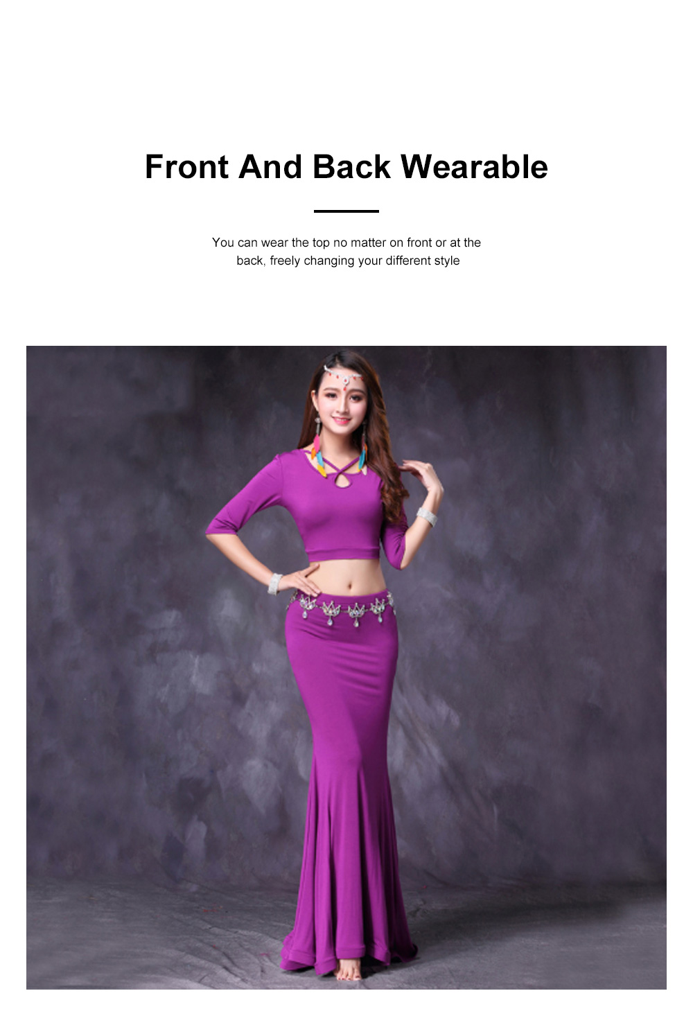 Belly Dance Costume Solid Color Set with Jewelry Decoration Fishtail Hemline Sheathe Dress 3
