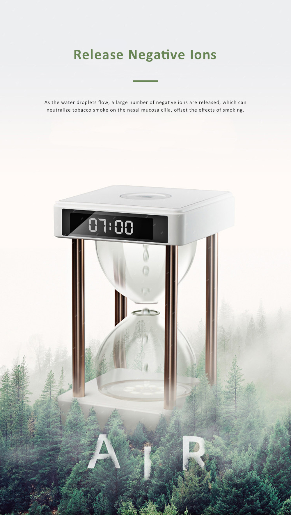 Tinkleo Air Purifier Anti-Gravity Time Hourglass with Water Drops Back Flow Desktop Humidification Deodorization Decoration Gift 2