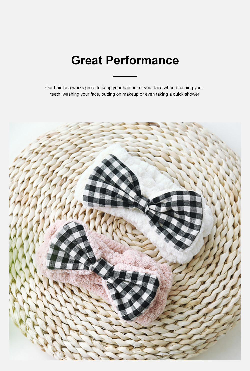 Coral Velvet Bowtie Headband Makeup Hairband with Elastic Tie for Spa Yoga Sports Shower 5