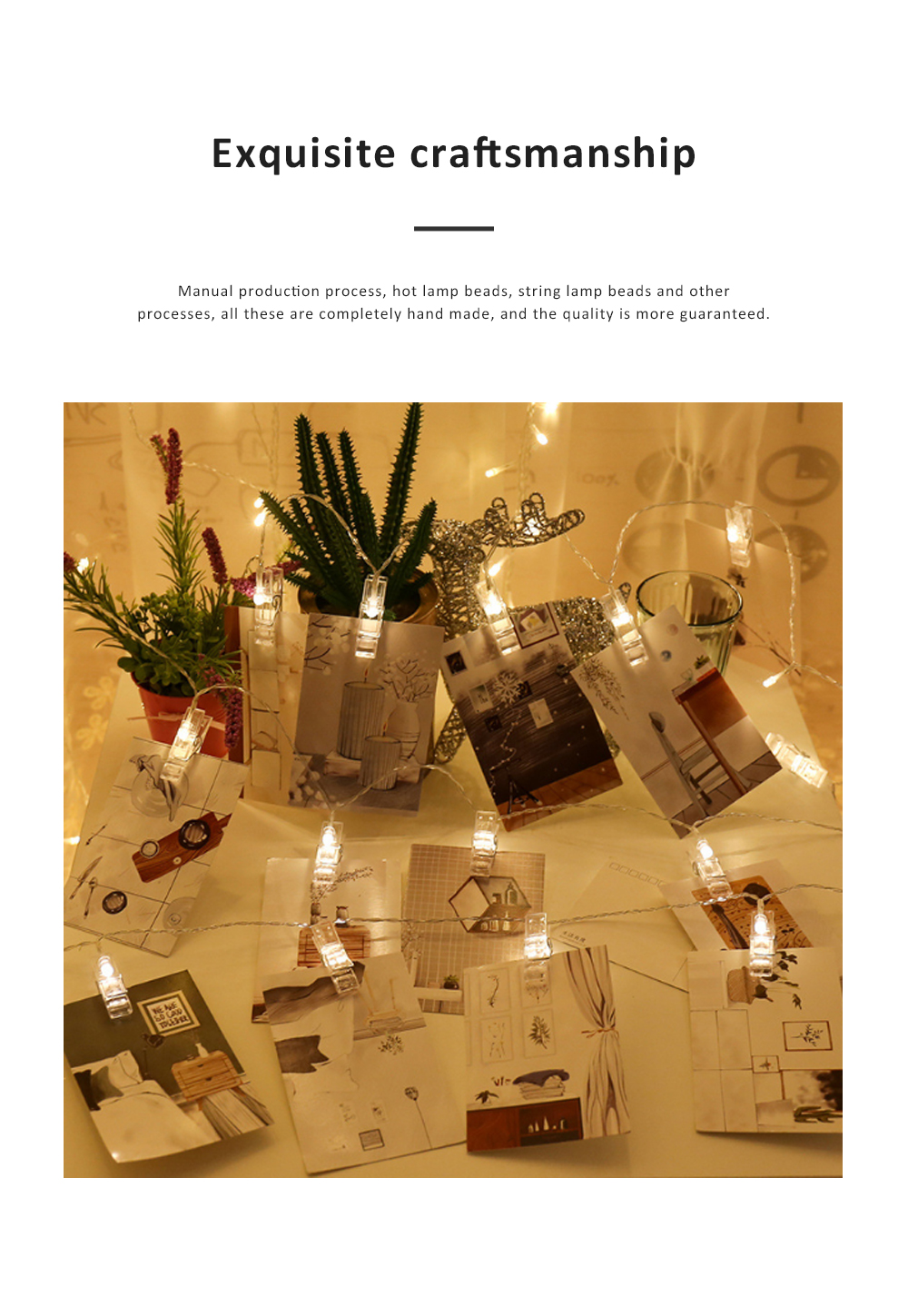 Led Star String Lights with Battery Powered Waterproof Clip String Postcard Photo Decoration Light for Indoor Outdoor Wedding Party Wall Garden 3