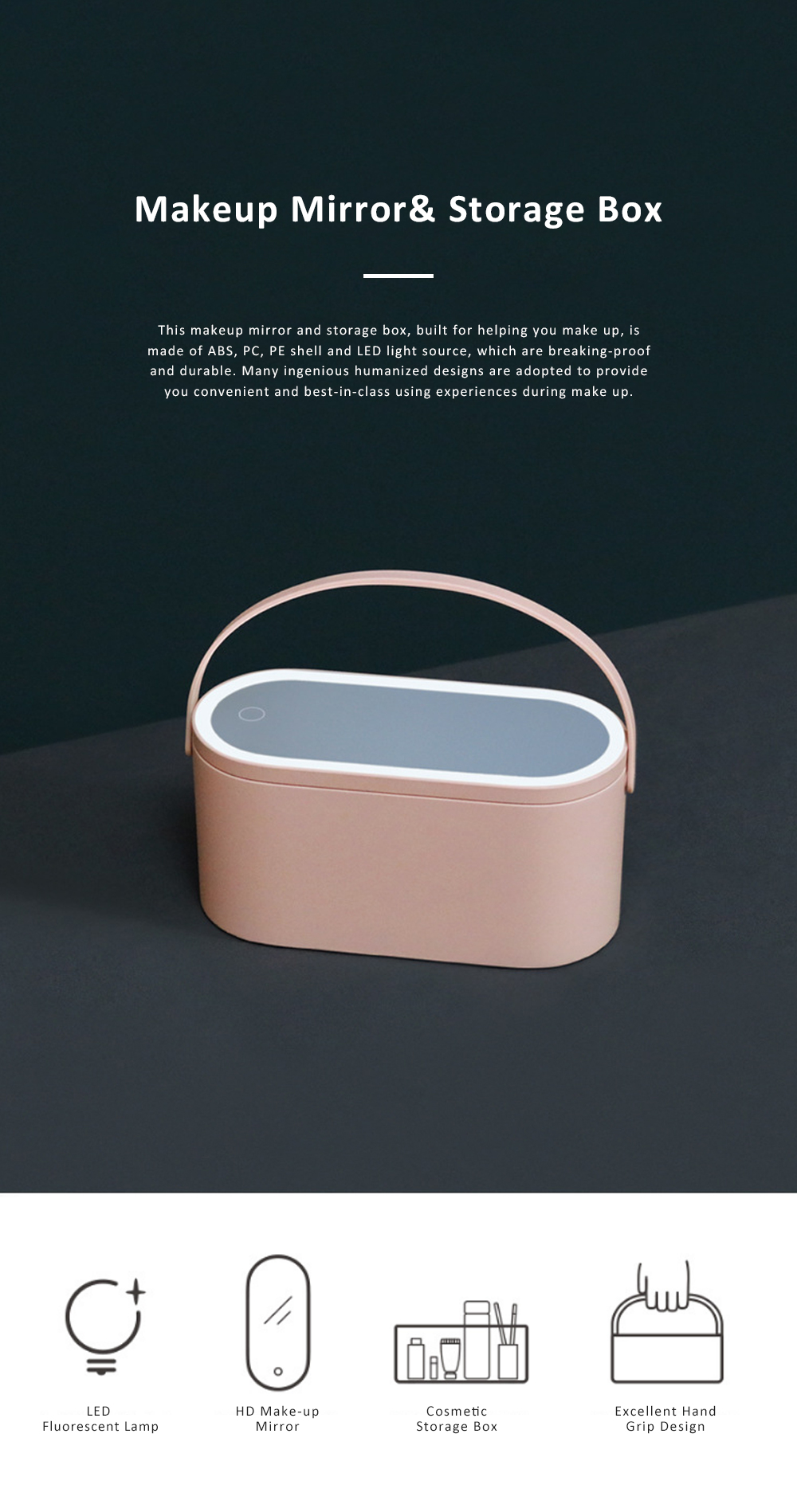 Portable Dressing Make Up Mirror Storage Case with Soft LED Light Recharging HD Mirror Comfortable Handle Cosmetic Storage Box 0