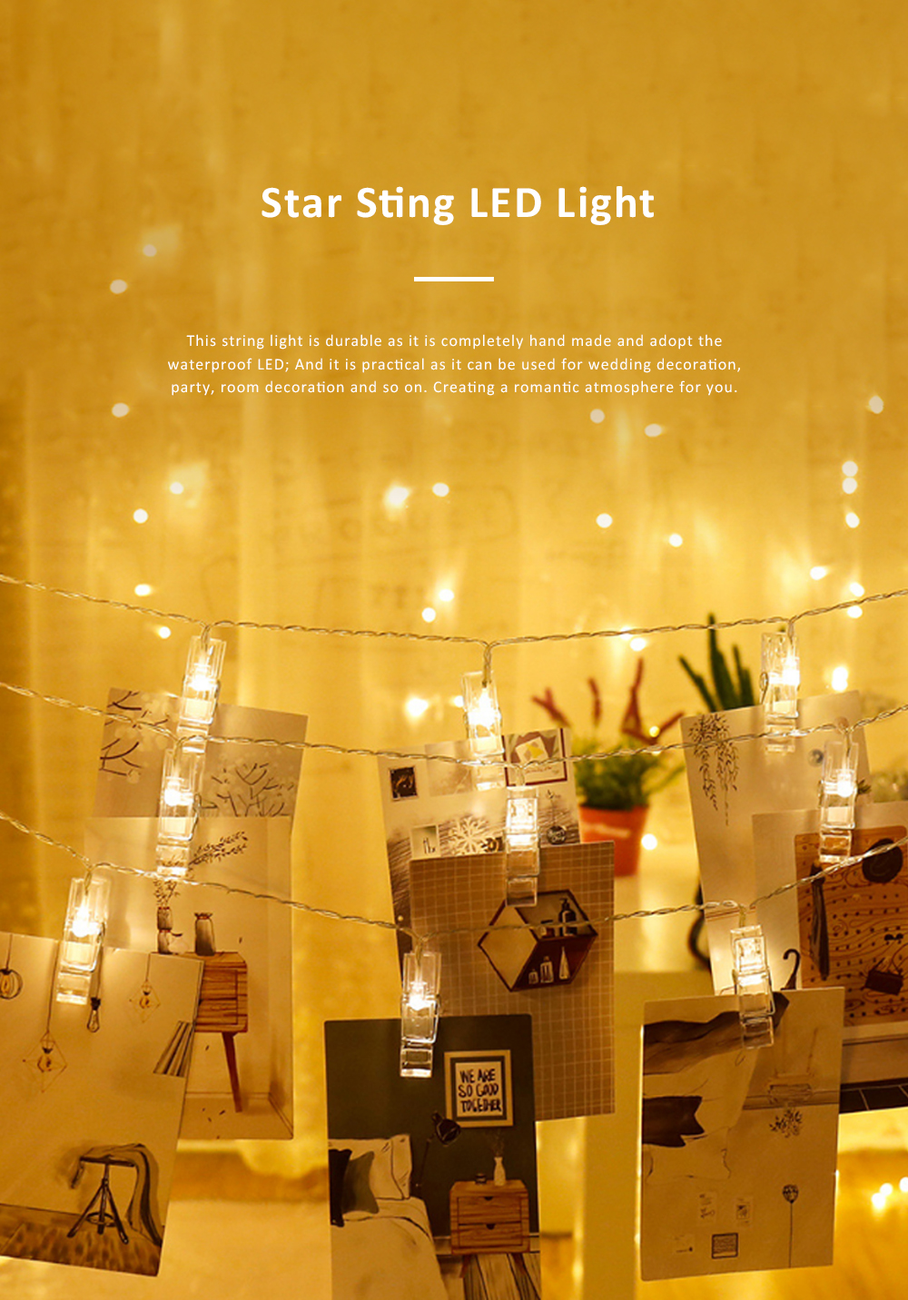 Led Star String Lights with Battery Powered Waterproof Clip String Postcard Photo Decoration Light for Indoor Outdoor Wedding Party Wall Garden 0