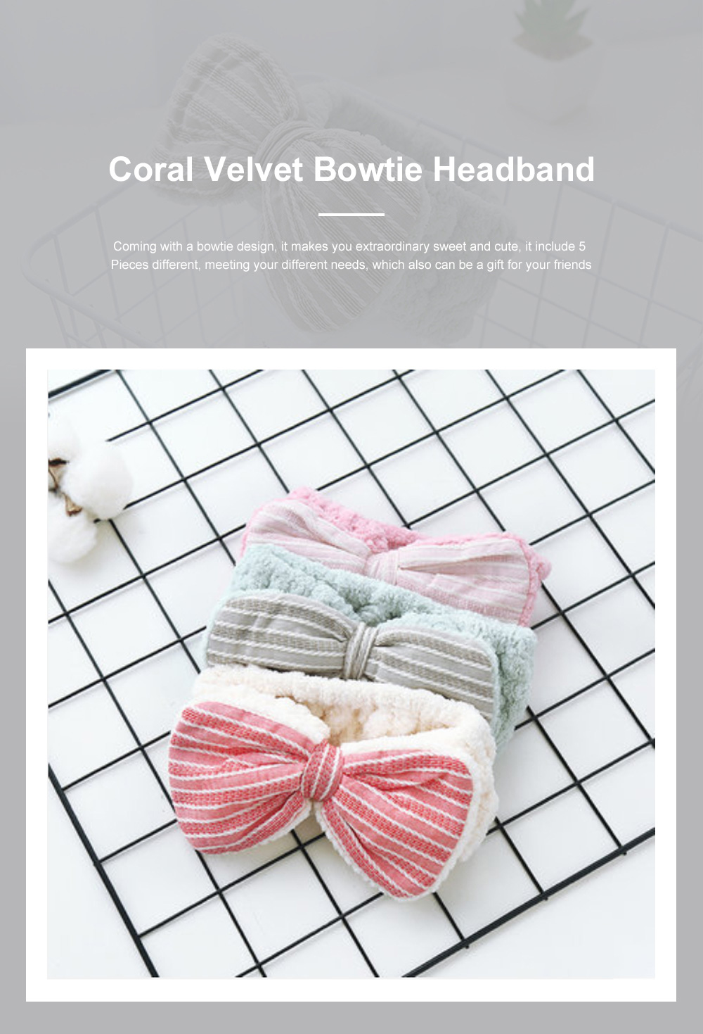 Coral Velvet Bowtie Headband Makeup Hairband with Elastic Tie for Spa Yoga Sports Shower 0