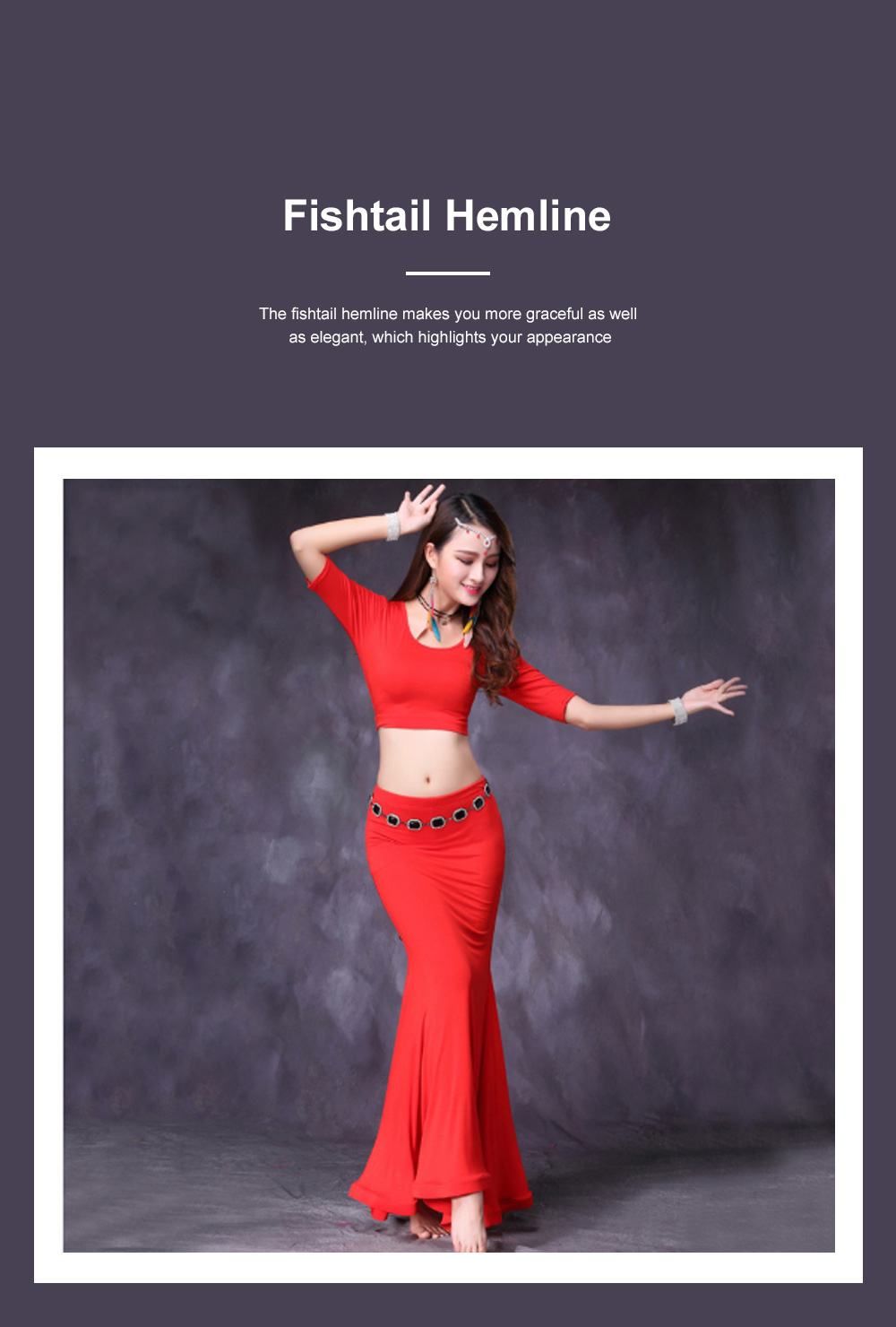 Belly Dance Costume Solid Color Set with Jewelry Decoration Fishtail Hemline Sheathe Dress 4