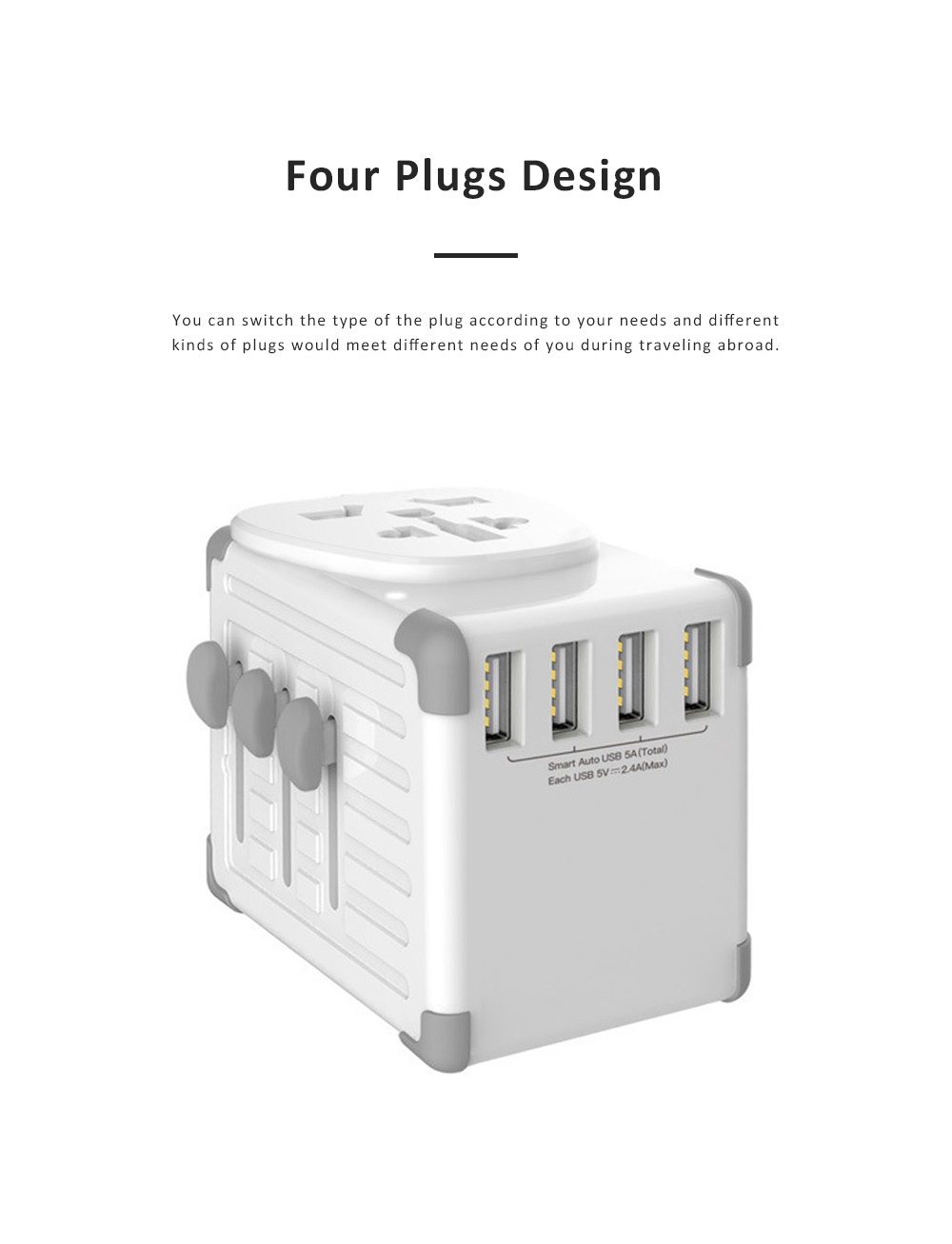 Portable Multifunctional Universal Adaptor Charge-over Plug Travel Abroad Phone Electronic Equipments Charger with 4 USB Ports 1