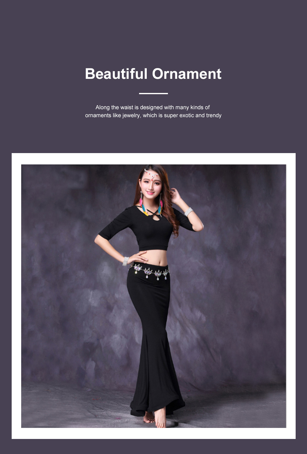 Belly Dance Costume Solid Color Set with Jewelry Decoration Fishtail Hemline Sheathe Dress 2