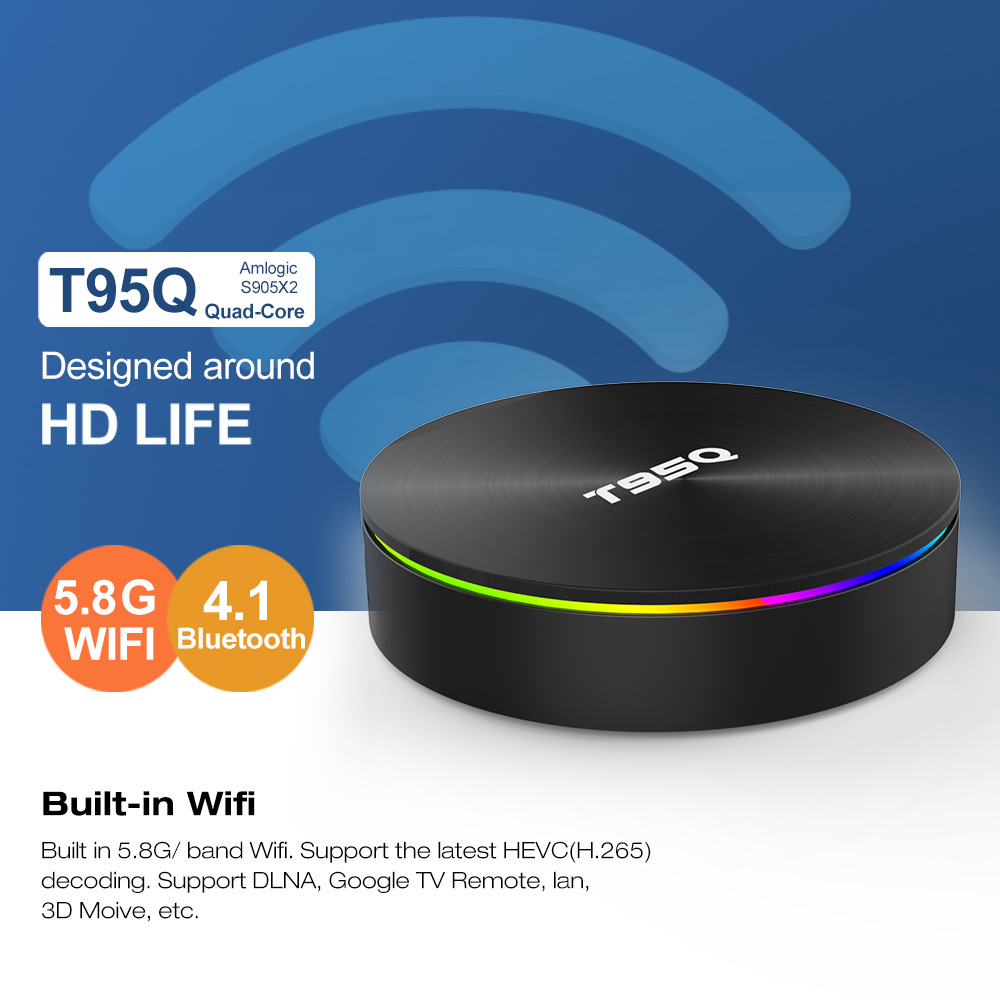 T95Q Android TV Box S905X2 4K Android 8.1 4G/32GB Bluetooth 4.1 5.8G WiFi Smart Box 4