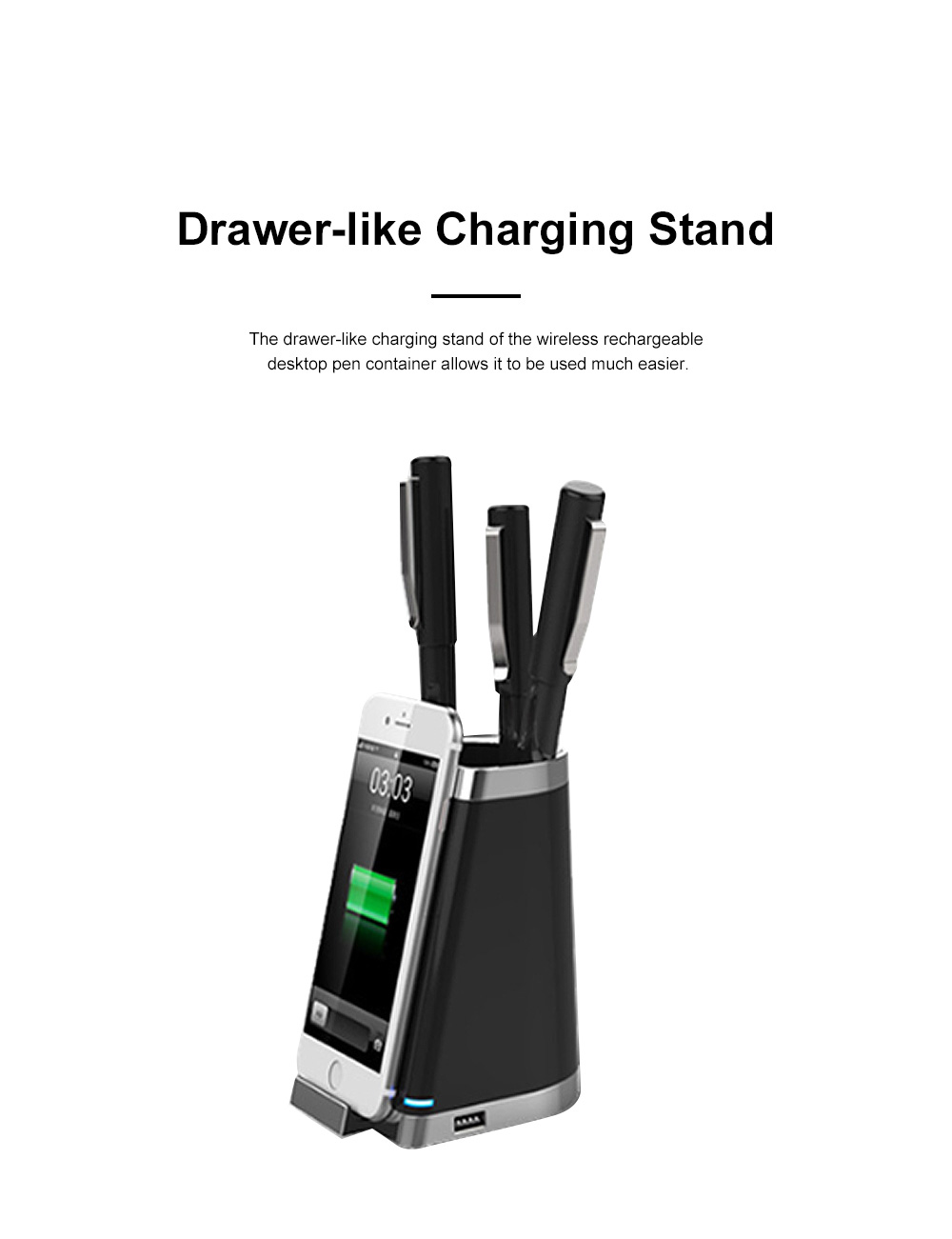 Wireless Rechargeable Desktop Pen Container for Table Top Storage Desktop Brush Pot Charger Drawer-like Charging Stand Tubular Pen Rack 3