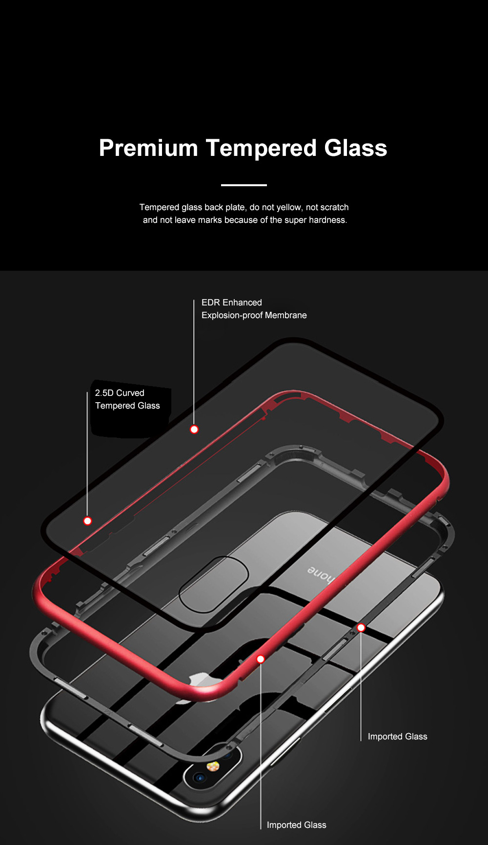Magnetic Adsorption Phone Case Double-Sided Tempered Glass Protection Shell Compatible for iPhone 6 7 8 11 XS Max & XS 2