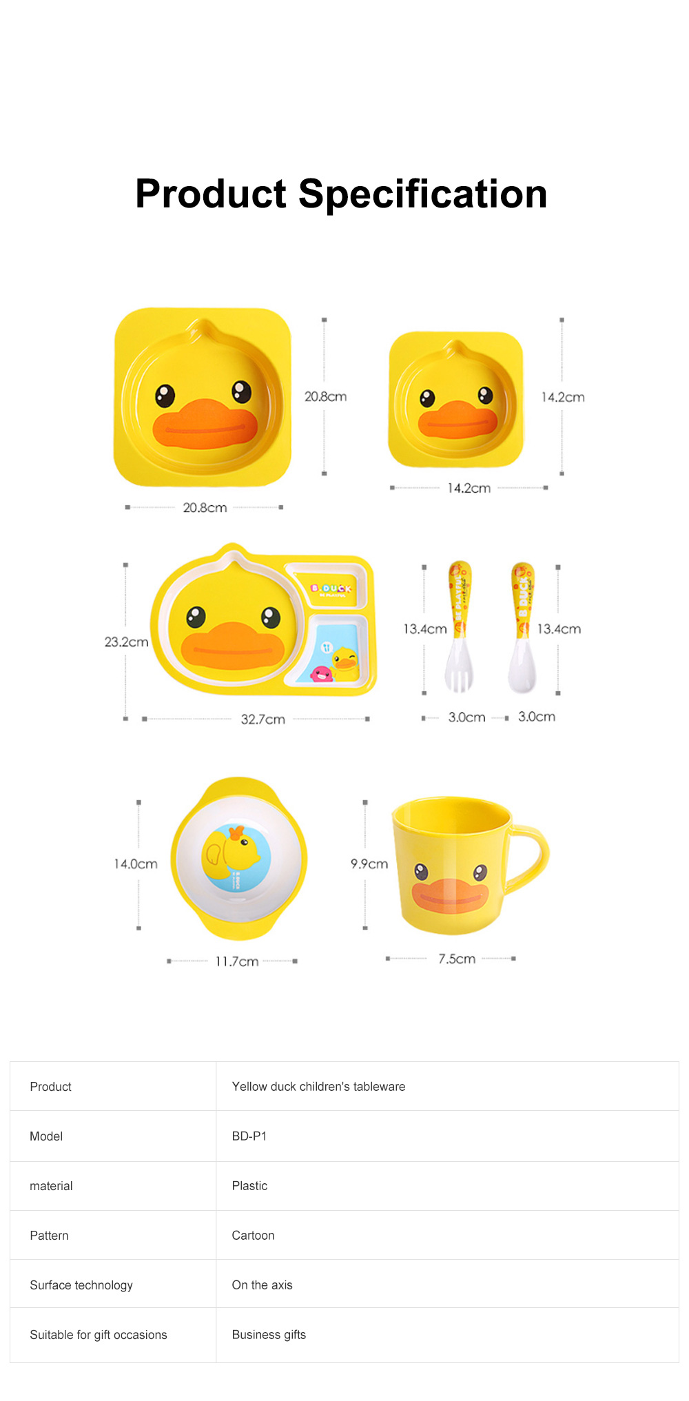 Small Yellow Duck Children's Tableware Baby Multi-function Cute Cartoon Plate Baby Shatter-resistant Food Supplement Bowl Fork Spoon Set 6