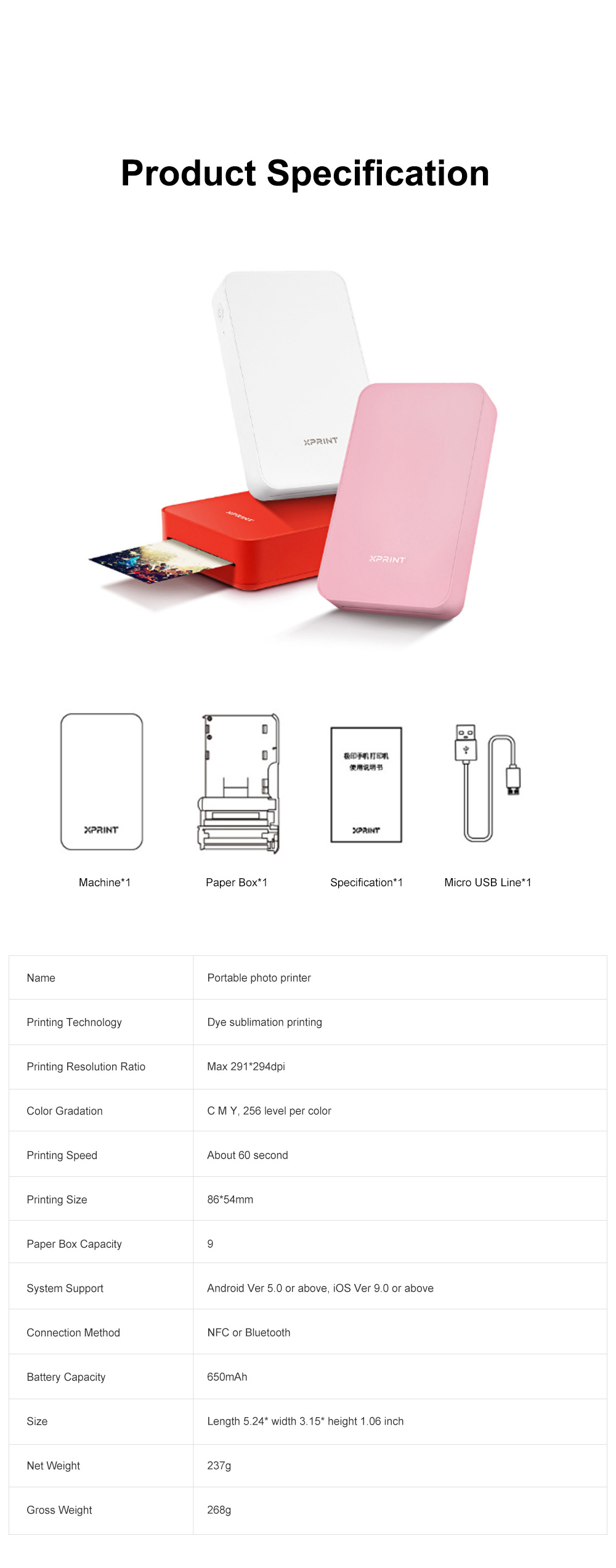 Portable Mobile Phone Bluetooth Photo Printer High-resolution Photograph Dye Sublimation Printing Machine Instant Camera 7