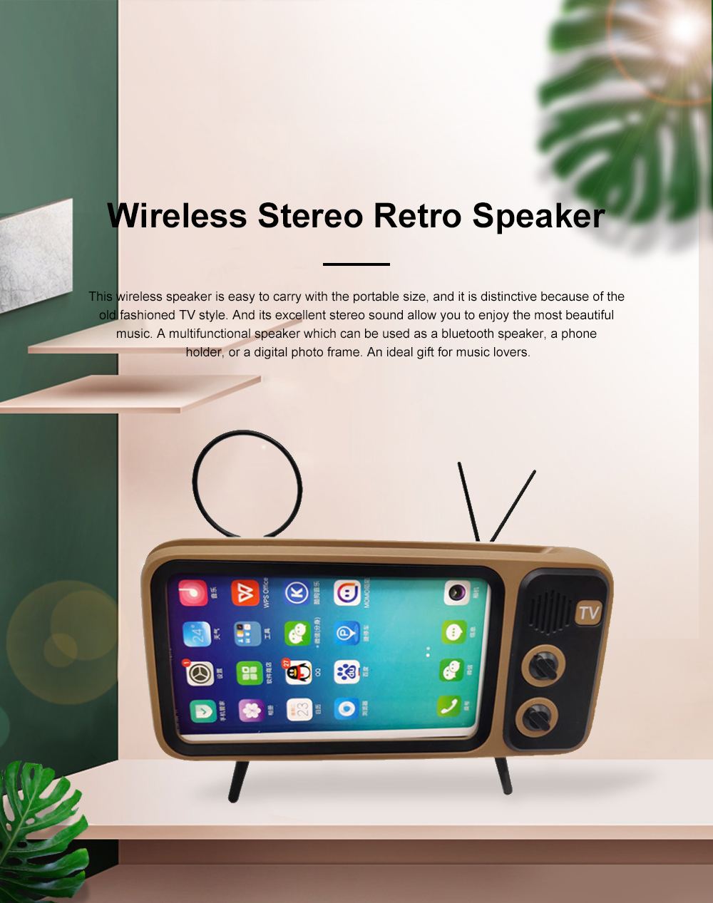 Retro Bluetooth Speaker Portable Wireless Stereo Speaker Old Fashioned Classic TV Style Music Player Phone Stand Mount 0