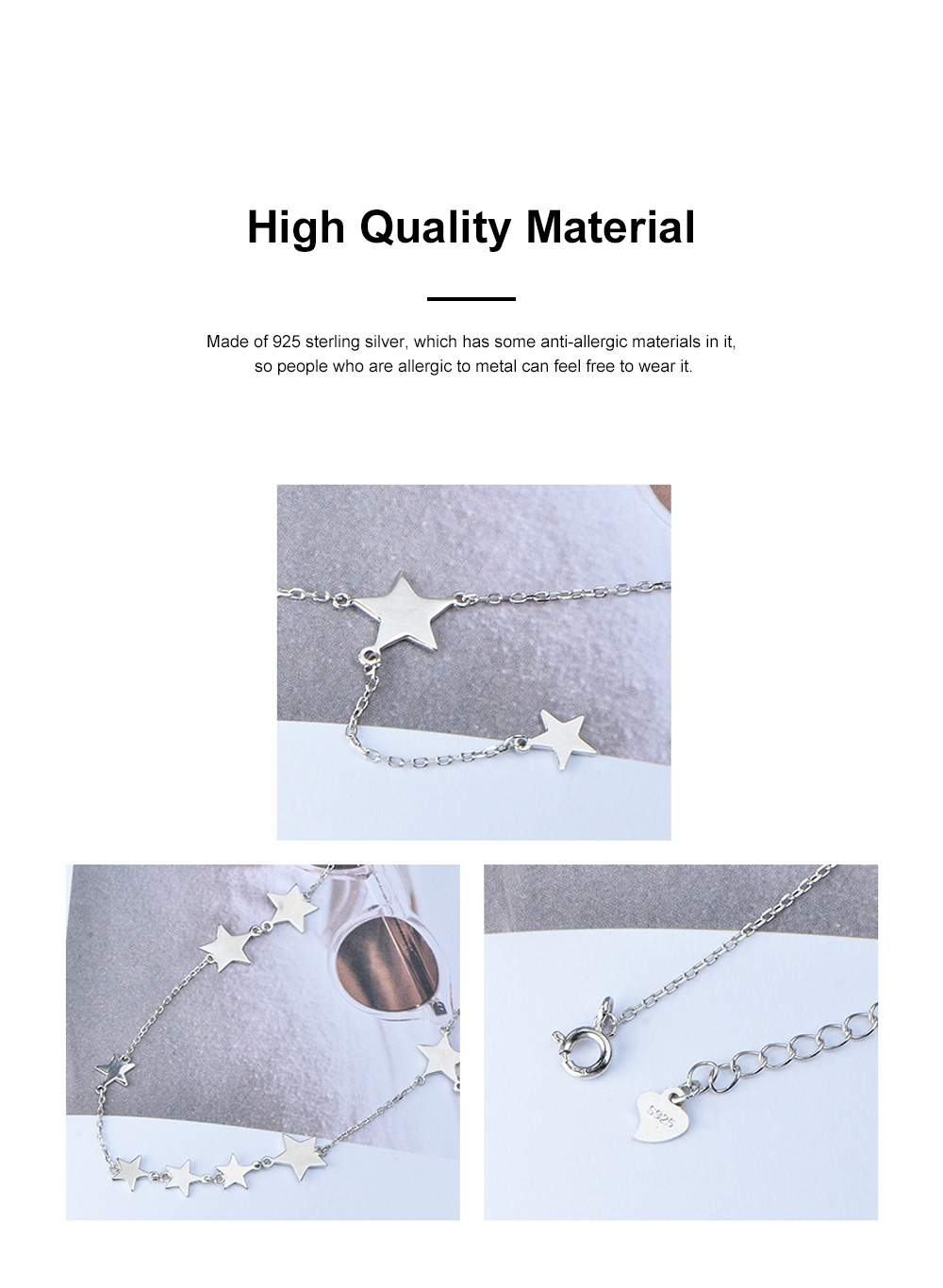 Lucky Star Choker Necklace Original Sterling Ornaments with S925 Sterling Silver Star for Women Girls 3