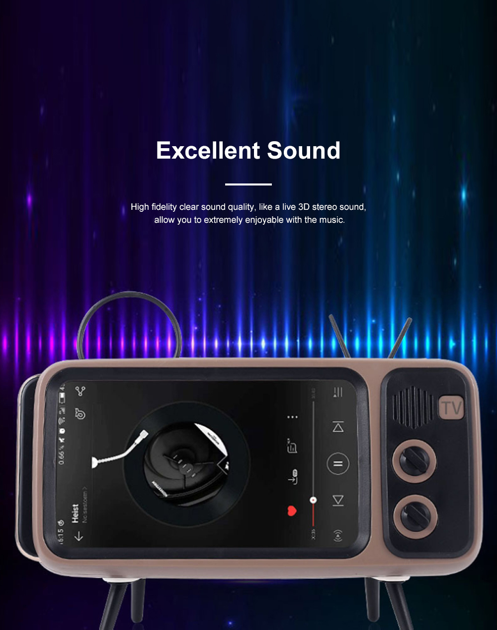 Retro Bluetooth Speaker Portable Wireless Stereo Speaker Old Fashioned Classic TV Style Music Player Phone Stand Mount 1