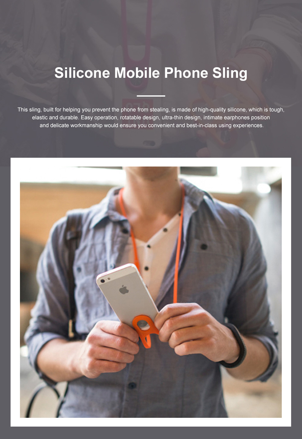 Creative Portable Convenient Elastic Silicone Mobile Phone Sling Rotatable Adjustable Smartphone Hanging Rope 0