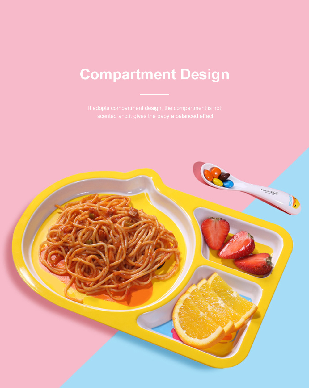 Small Yellow Duck Children's Tableware Baby Multi-function Cute Cartoon Plate Baby Shatter-resistant Food Supplement Bowl Fork Spoon Set 2