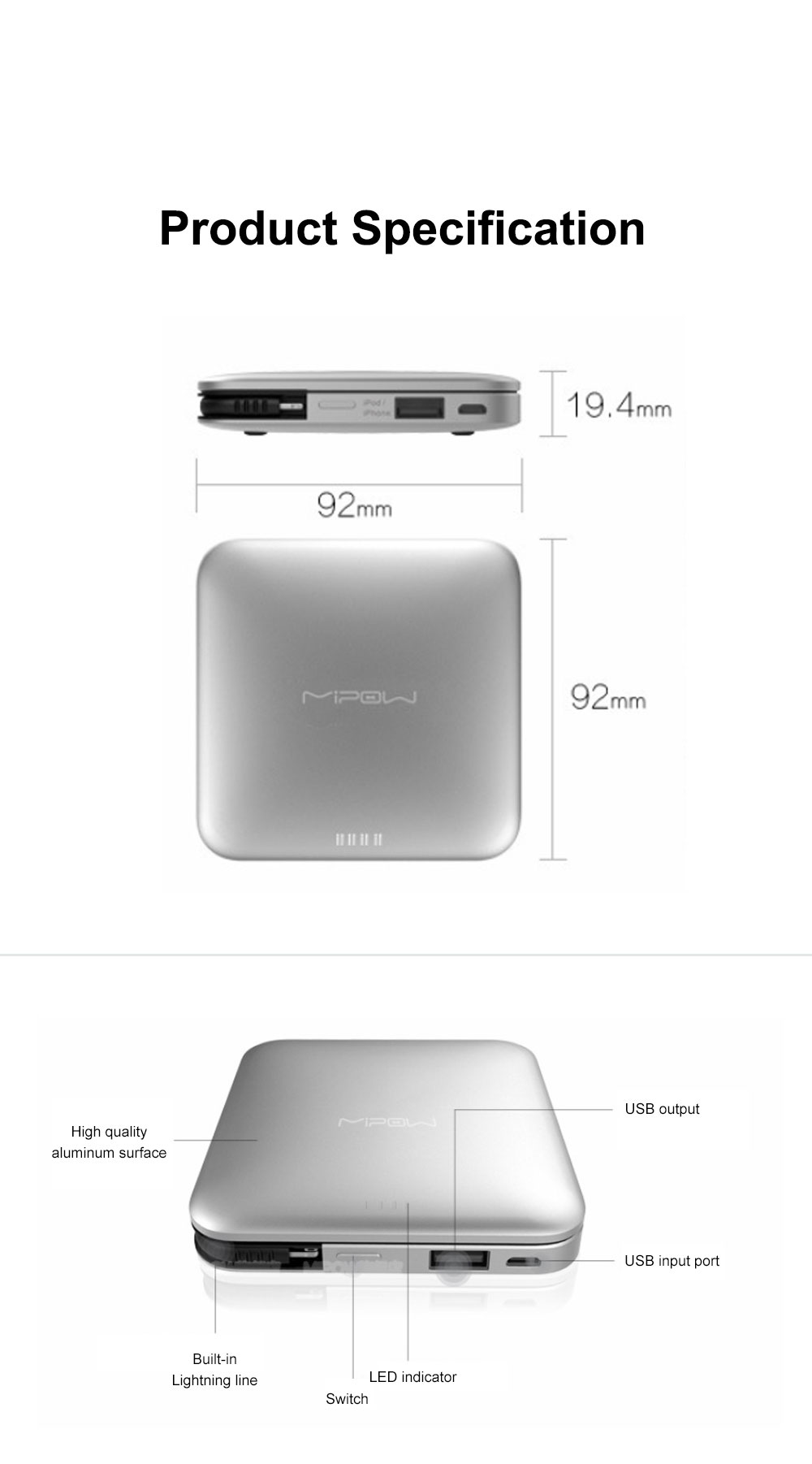 Mipow Portable Mobile Power 9000 Mah Large Capacity Mobile Phone Ultra-thin Charging Treasure Comes With Line specially for iPod iPhone iPad 8