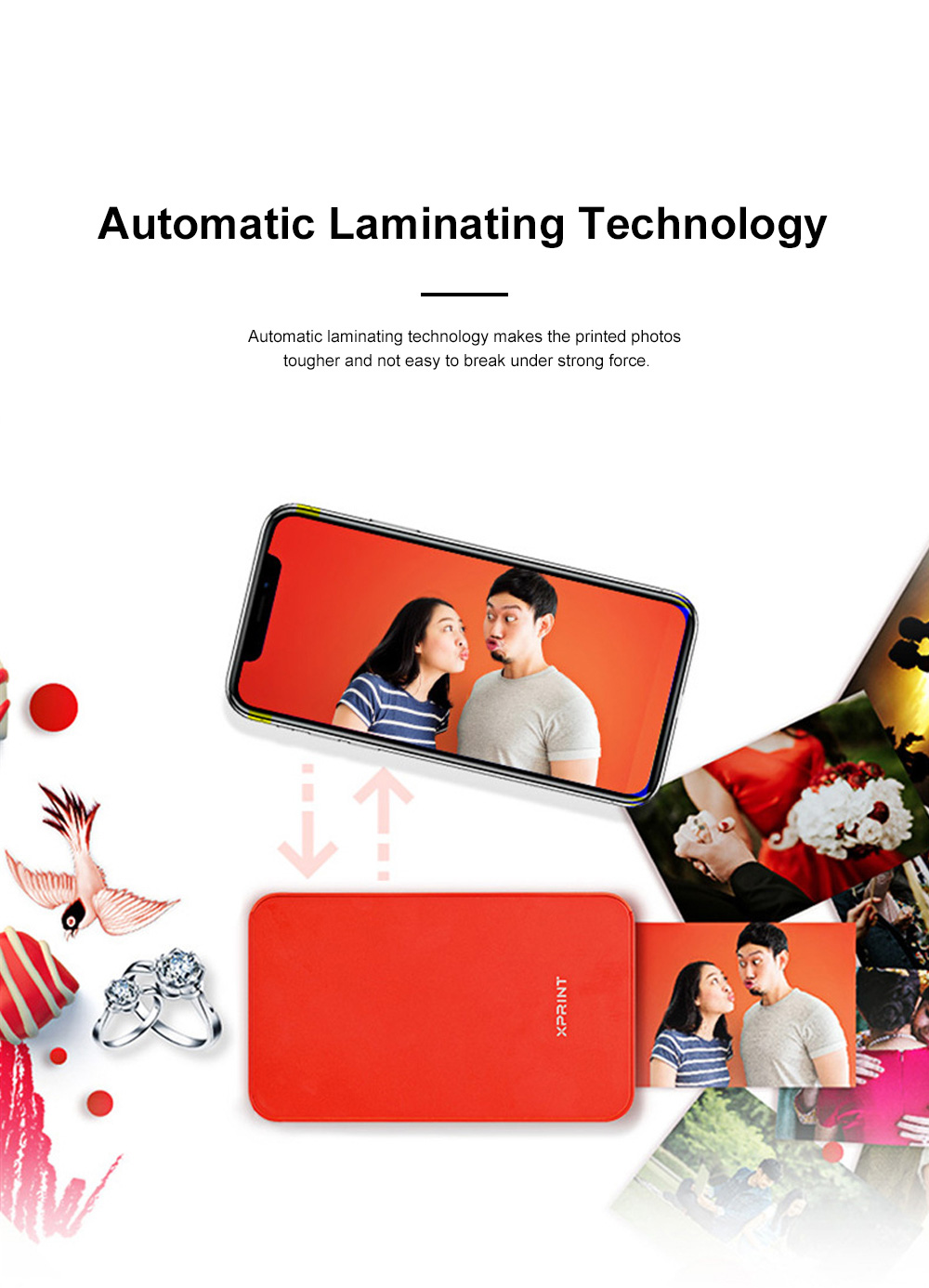 Portable Mobile Phone Bluetooth Photo Printer High-resolution Photograph Dye Sublimation Printing Machine Instant Camera 5