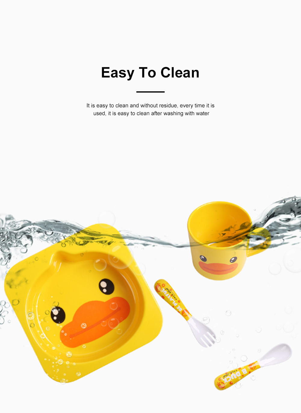 Small Yellow Duck Children's Tableware Baby Multi-function Cute Cartoon Plate Baby Shatter-resistant Food Supplement Bowl Fork Spoon Set 4