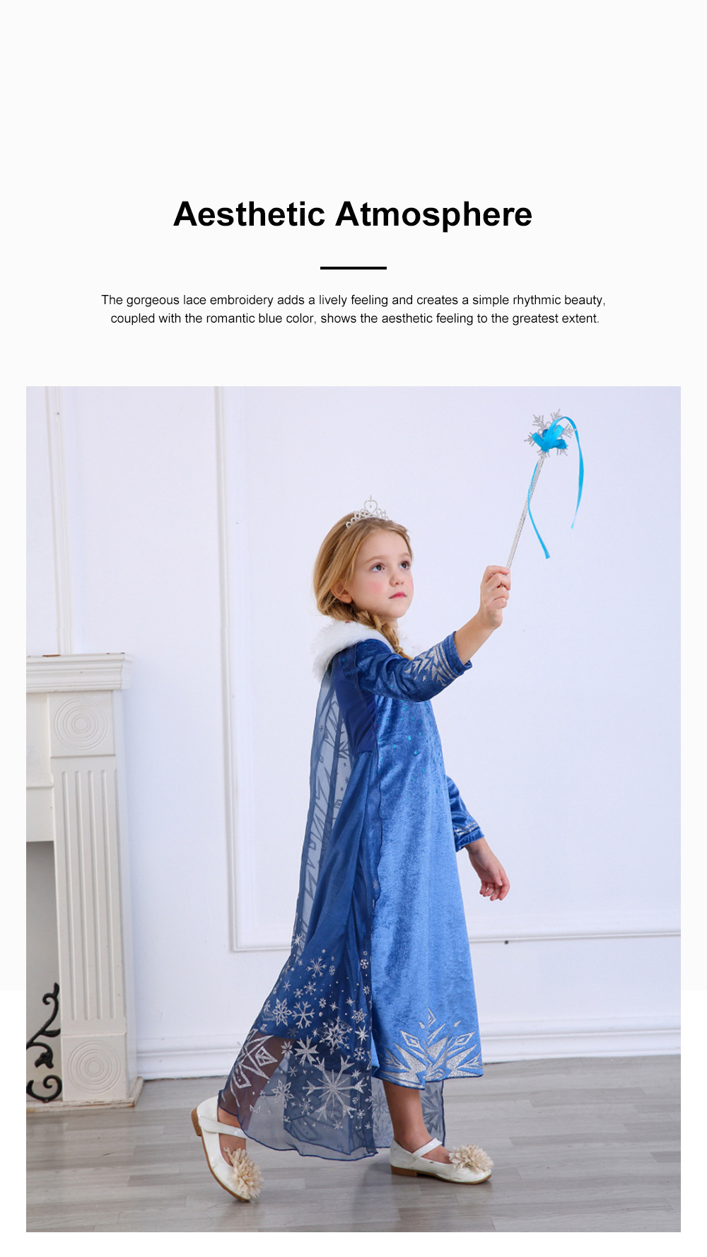 Snow Queen Princess Costumes Elsa Anna Cosplay Dress with Beautiful Cloak for Girls Princess in Party 3