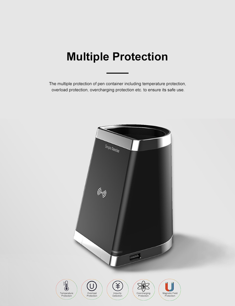 Wireless Rechargeable Desktop Pen Container for Table Top Storage Desktop Brush Pot Charger Drawer-like Charging Stand Tubular Pen Rack 2