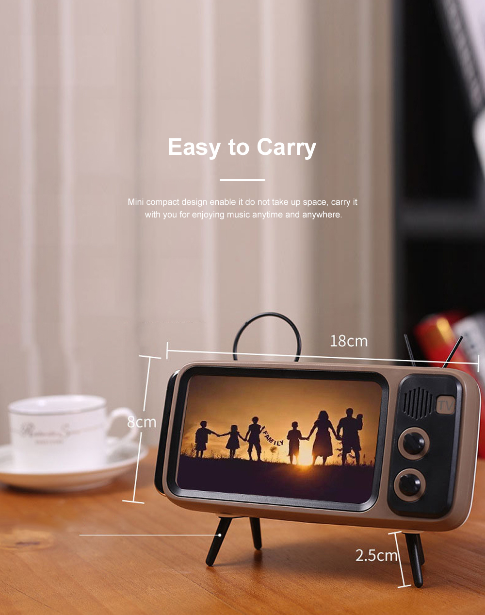 Retro Bluetooth Speaker Portable Wireless Stereo Speaker Old Fashioned Classic TV Style Music Player Phone Stand Mount 2