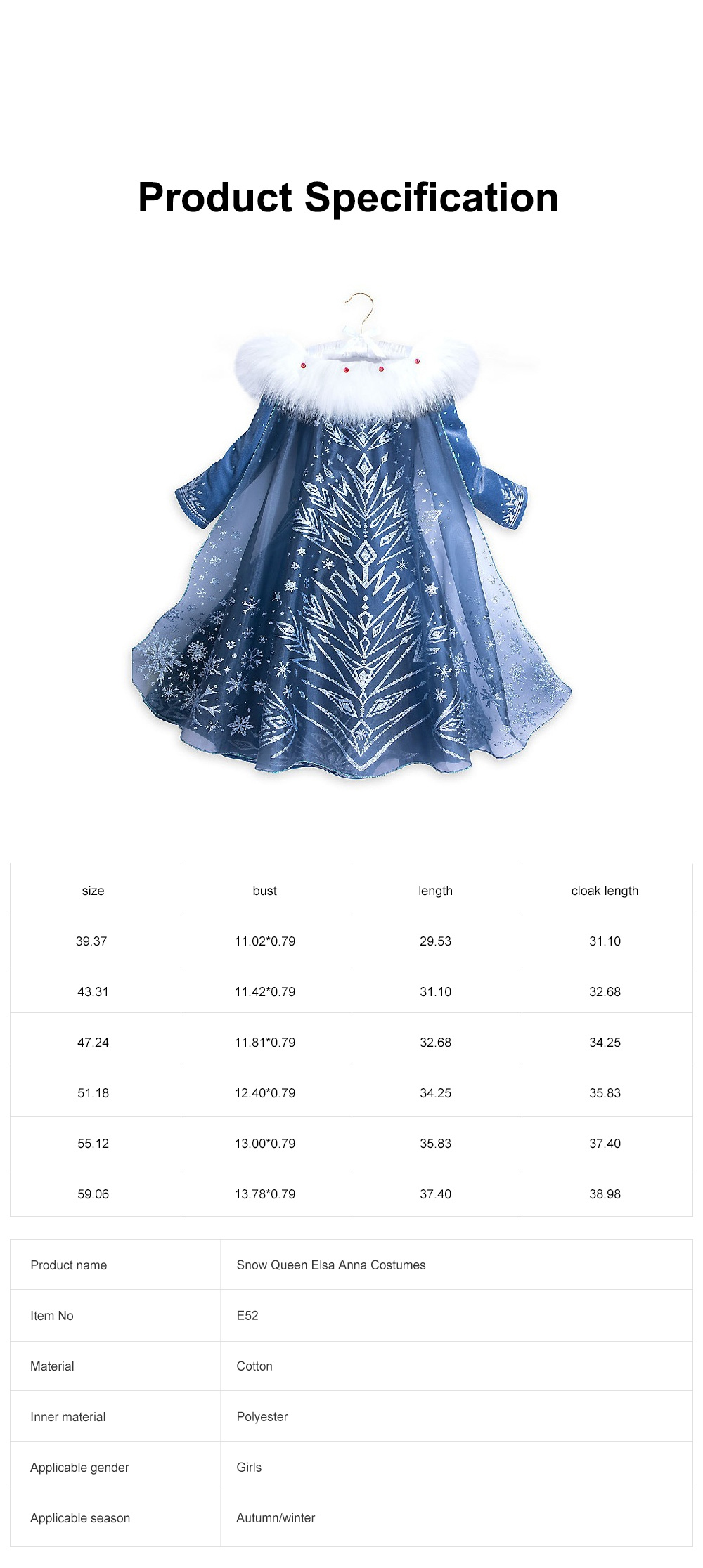Snow Queen Princess Costumes Elsa Anna Cosplay Dress with Beautiful Cloak for Girls Princess in Party 6