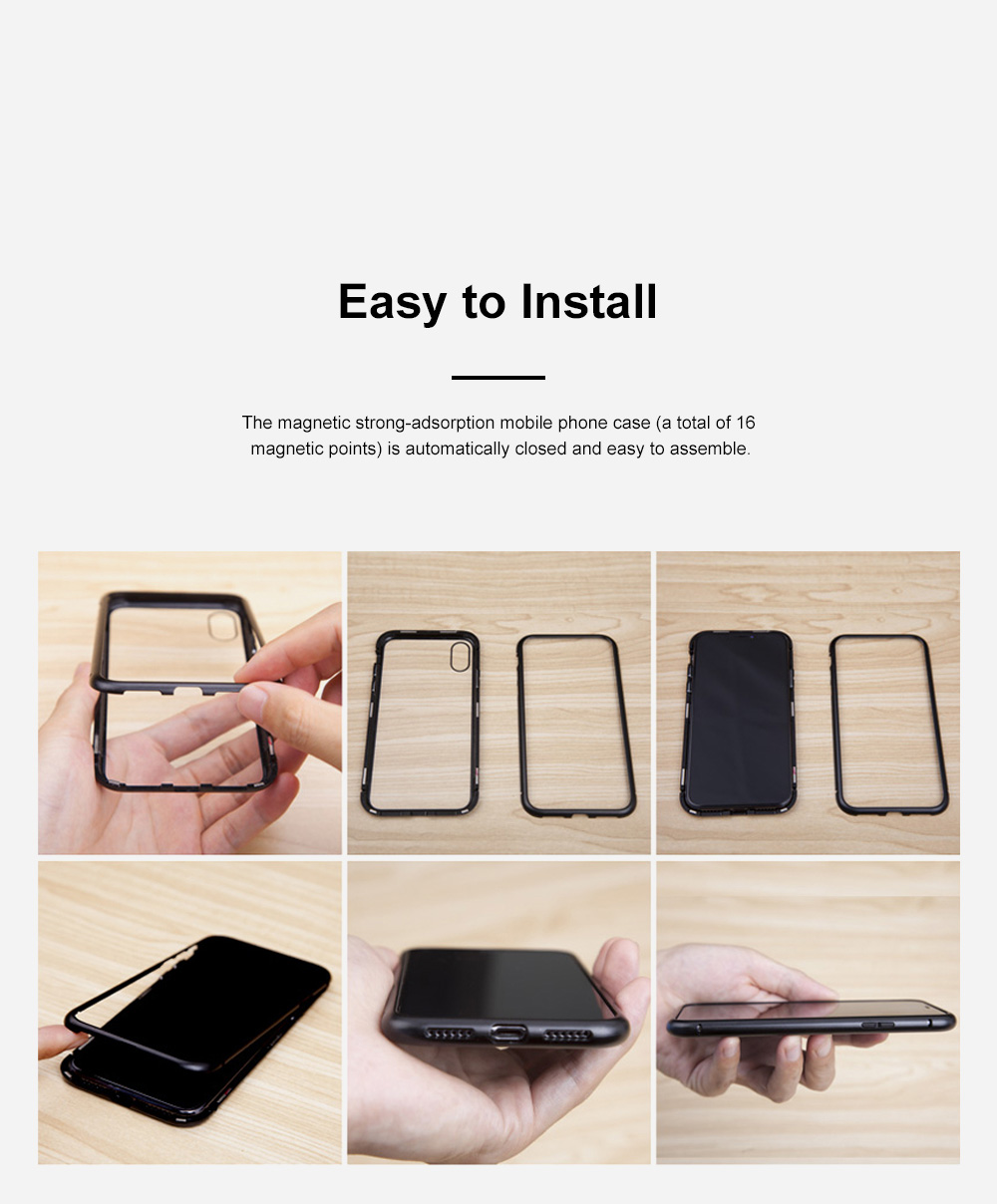 Magnetic Adsorption Phone Case Double-Sided Tempered Glass Protection Shell Compatible for iPhone 6 7 8 11 XS Max & XS 5