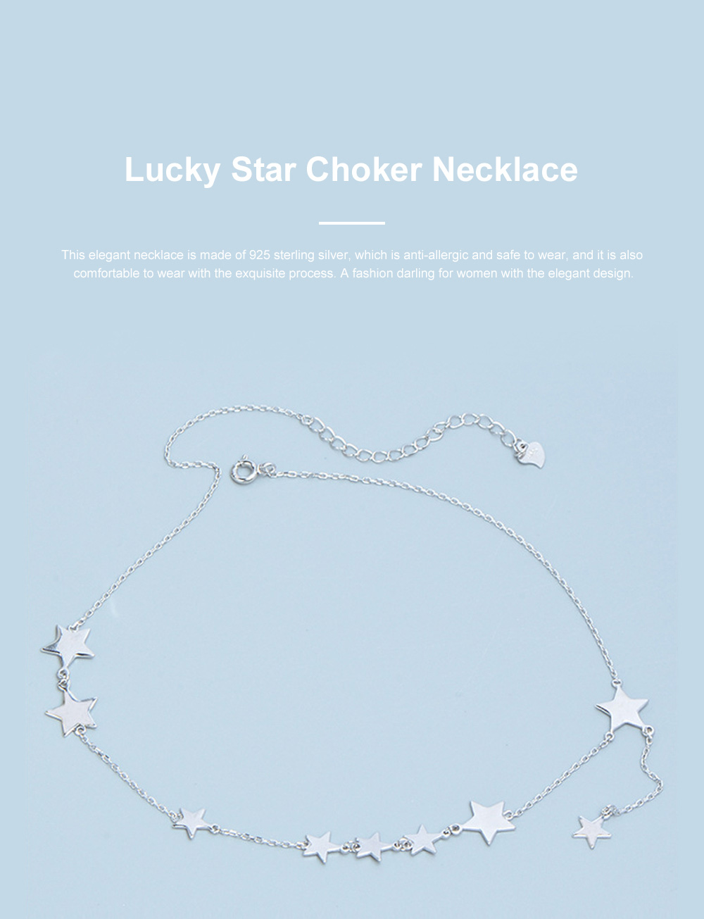 Lucky Star Choker Necklace Original Sterling Ornaments with S925 Sterling Silver Star for Women Girls 0