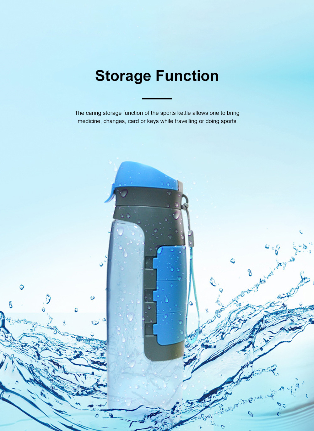 Outdoor Large Capacity Sports Bottles Pill Case for Riding Driving Office Food Grade BPA Free Medicine Storage Water Kettle Portable Plastic Water Cup 4
