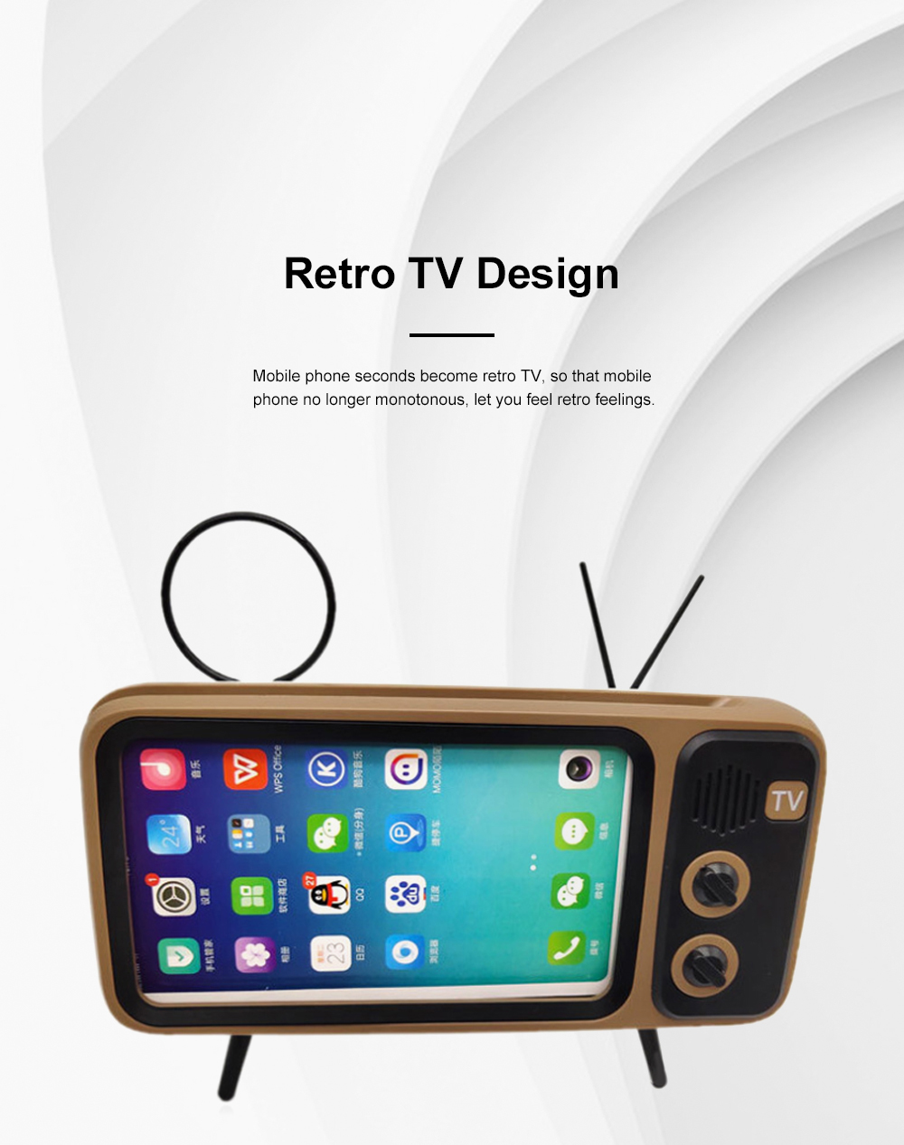 Retro Bluetooth Speaker Portable Wireless Stereo Speaker Old Fashioned Classic TV Style Music Player Phone Stand Mount 3