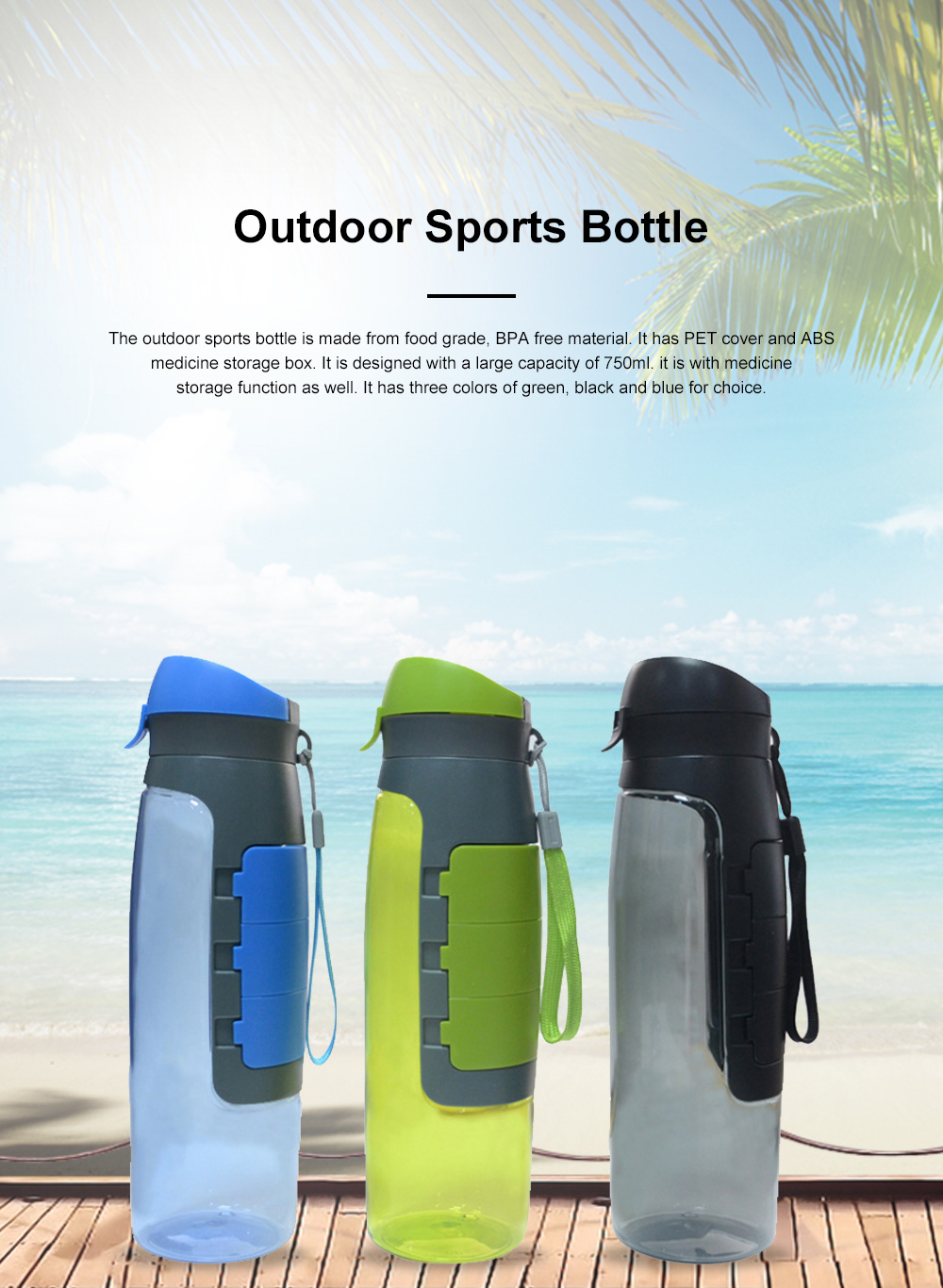 Outdoor Large Capacity Sports Bottles Pill Case for Riding Driving Office Food Grade BPA Free Medicine Storage Water Kettle Portable Plastic Water Cup 0