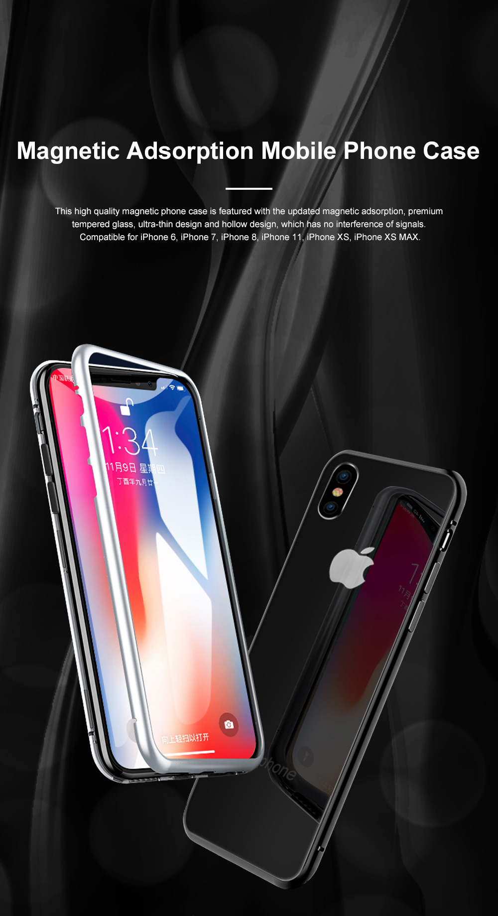 Magnetic Adsorption Phone Case Double-Sided Tempered Glass Protection Shell Compatible for iPhone 6 7 8 11 XS Max & XS 0