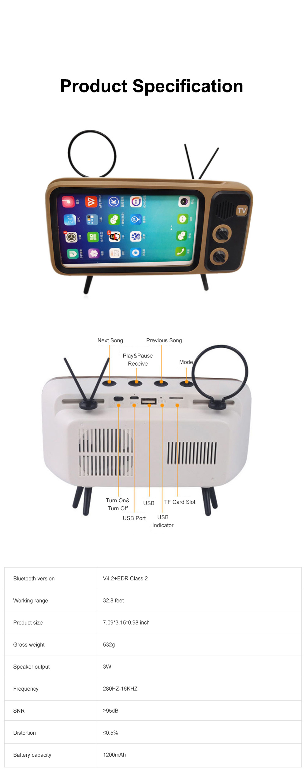 Retro Bluetooth Speaker Portable Wireless Stereo Speaker Old Fashioned Classic TV Style Music Player Phone Stand Mount 6