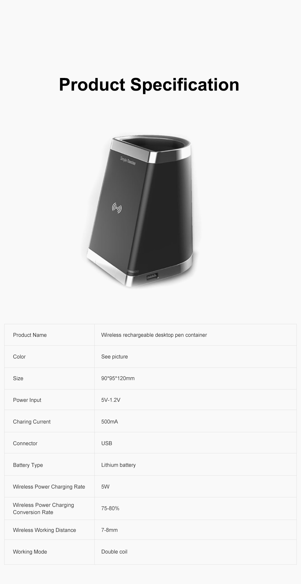 Wireless Rechargeable Desktop Pen Container for Table Top Storage Desktop Brush Pot Charger Drawer-like Charging Stand Tubular Pen Rack 6