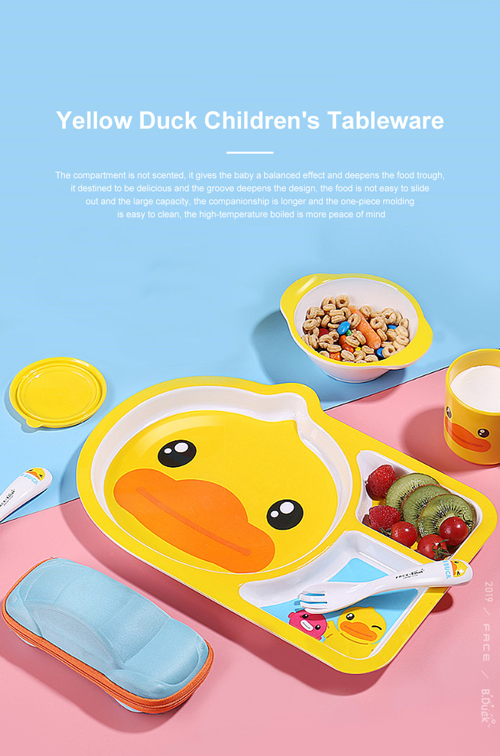 Small Yellow Duck Children's Tableware Baby Multi-function Cute Cartoon Plate Baby Shatter-resistant Food Supplement Bowl Fork Spoon Set 0