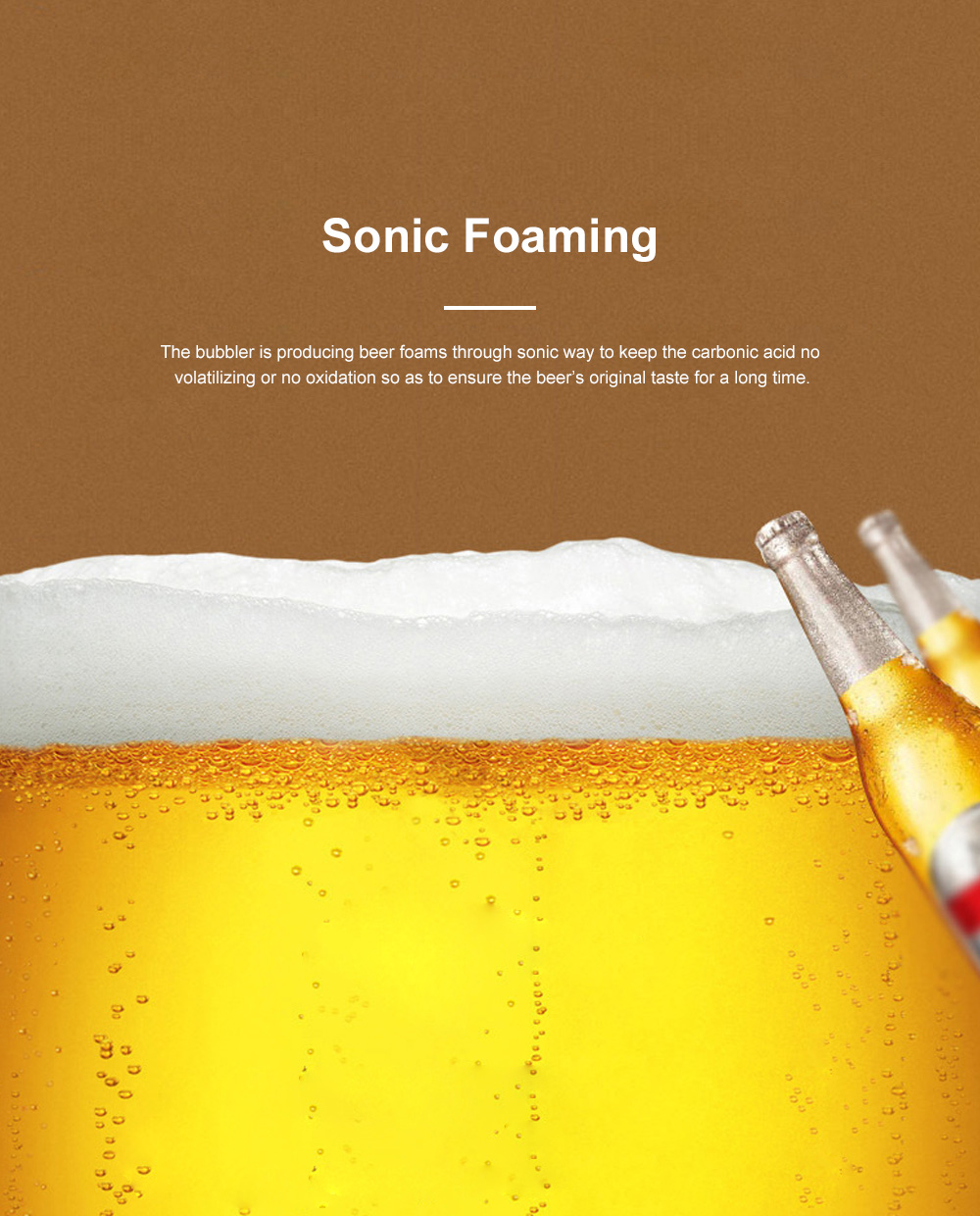 Portable Sonic Can Beer Foamer for Outdoor Party Wine Tasting Food Grade Universal Beer Bubbler Long Battery Duration Mini Size Beer Foamer 4