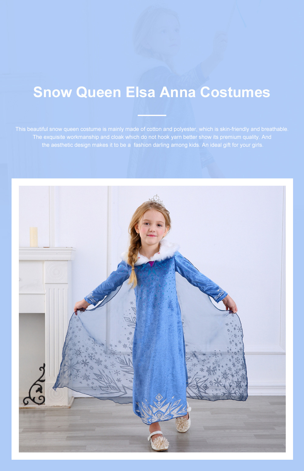 Snow Queen Princess Costumes Elsa Anna Cosplay Dress with Beautiful Cloak for Girls Princess in Party 0