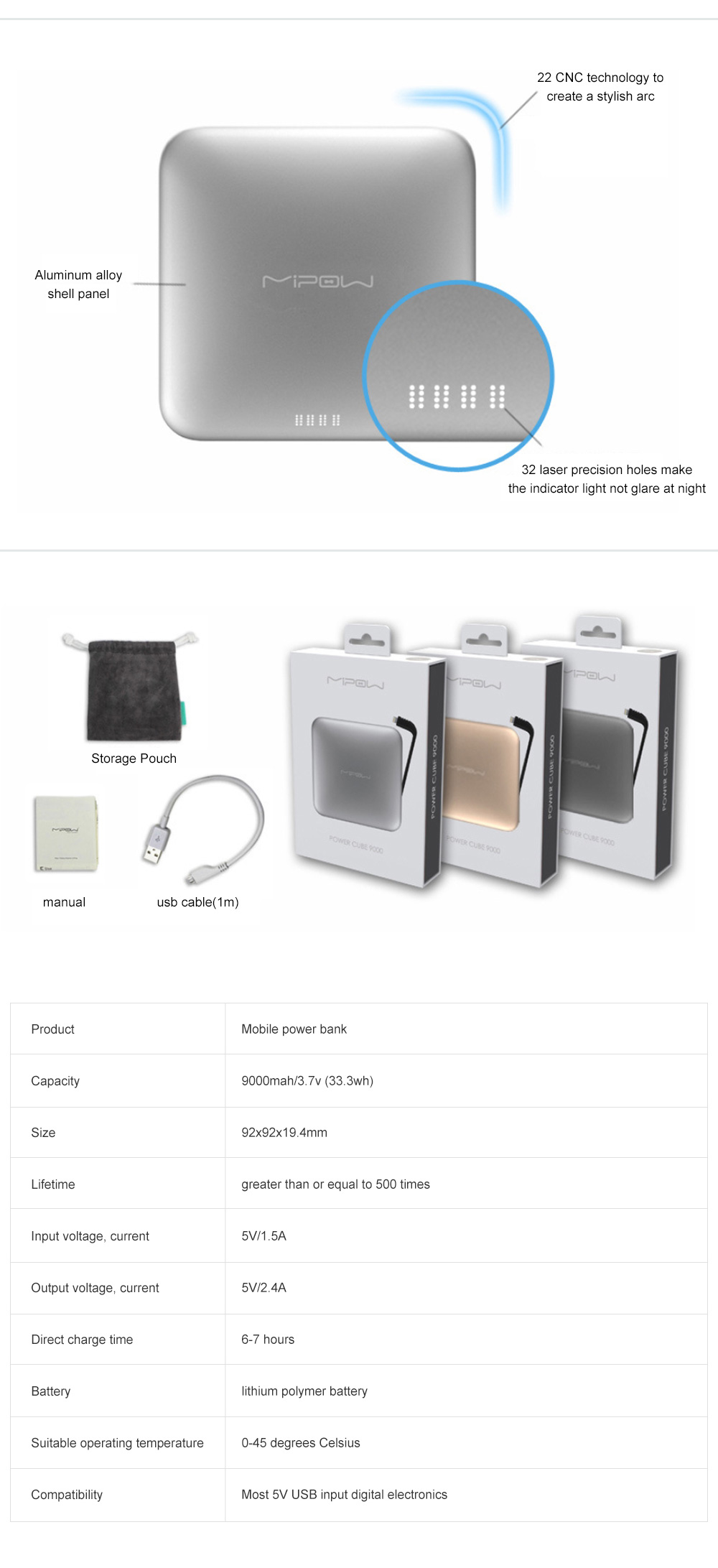 Mipow Portable Mobile Power 9000 Mah Large Capacity Mobile Phone Ultra-thin Charging Treasure Comes With Line specially for iPod iPhone iPad 9