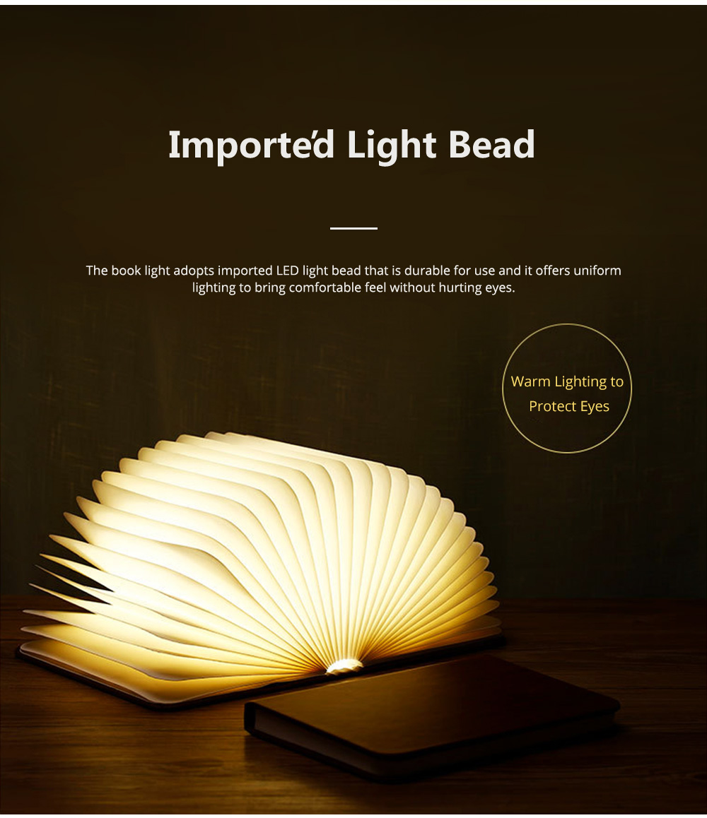 Creative PU Wood Grain Book Light with Five Color Auto Gradient Ramp Rechargeable Foldable LED Book Lamp Stylish USB Night Lamp 4